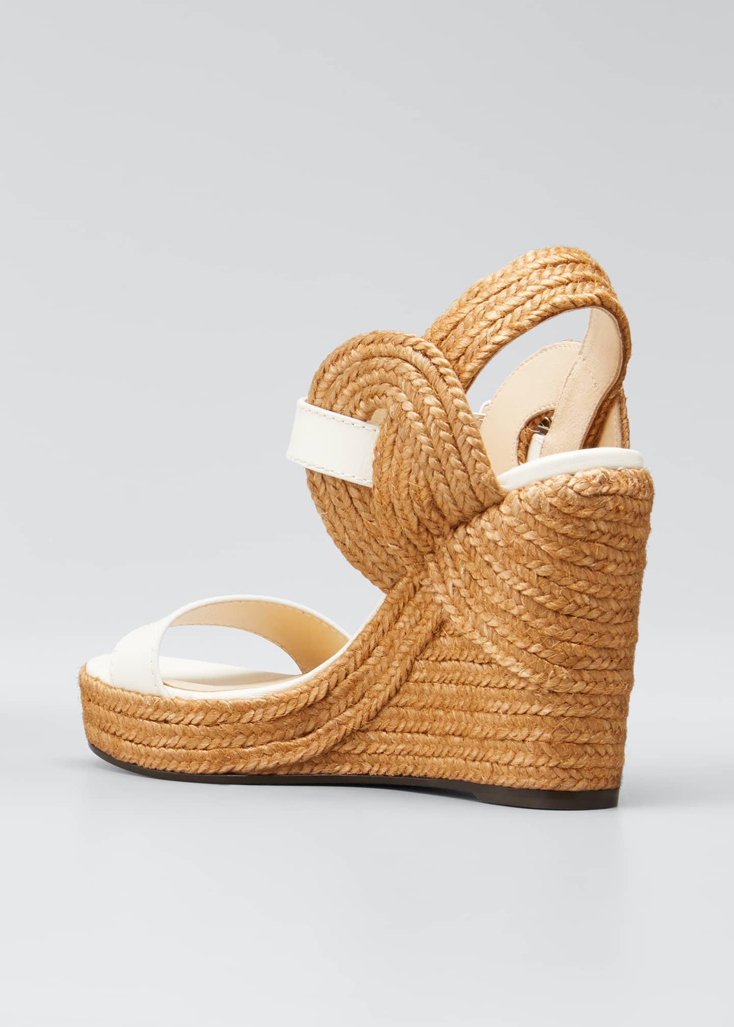 Image 4 of 5: Delphi Leather Espadrille Wedge Sandals