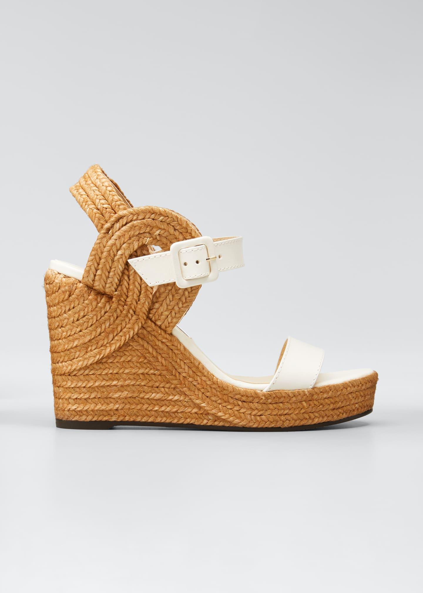 Image 1 of 5: Delphi Leather Espadrille Wedge Sandals