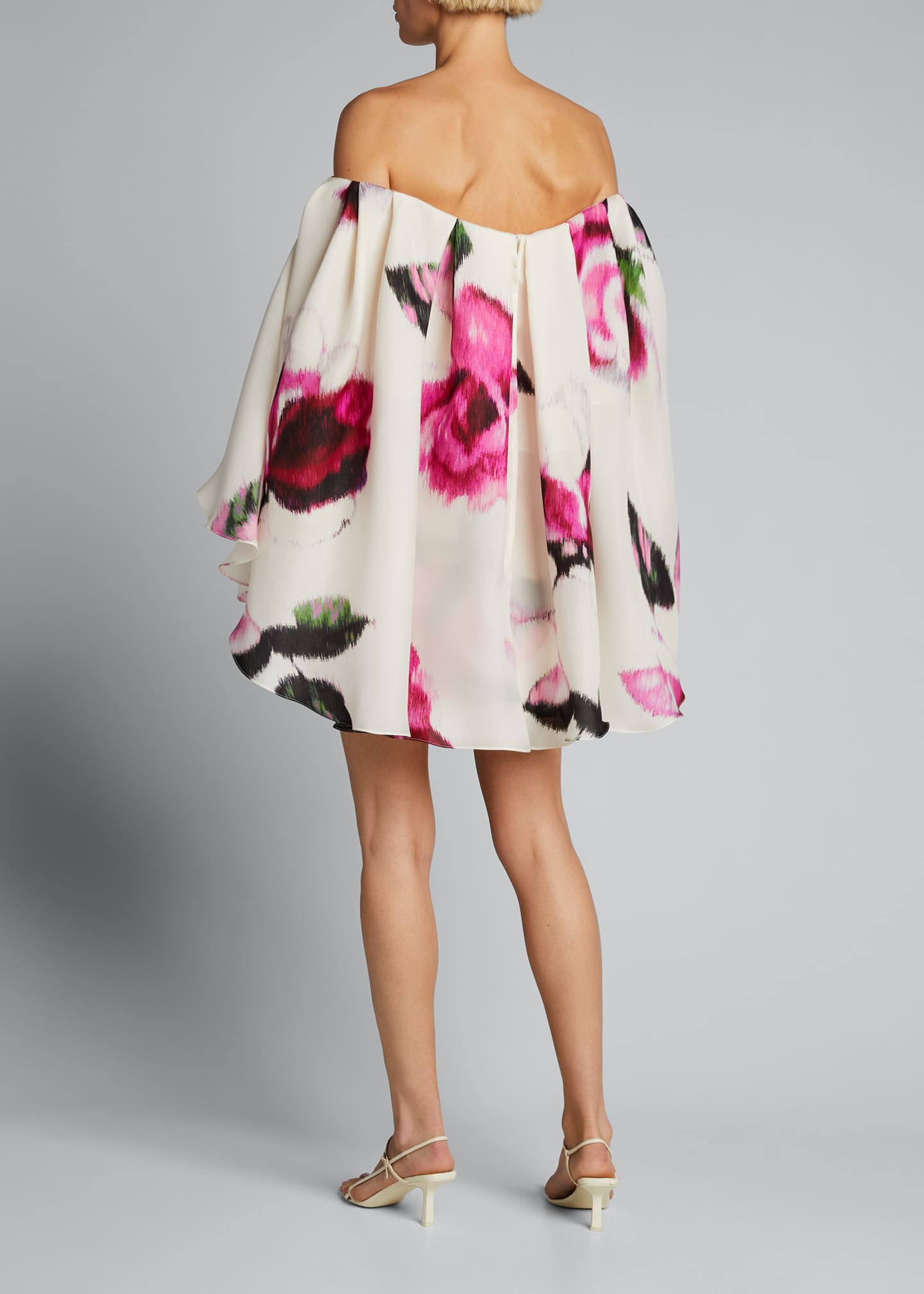 Image 2 of 3: Silk Strapless Caped Mini Dress w/ Belt