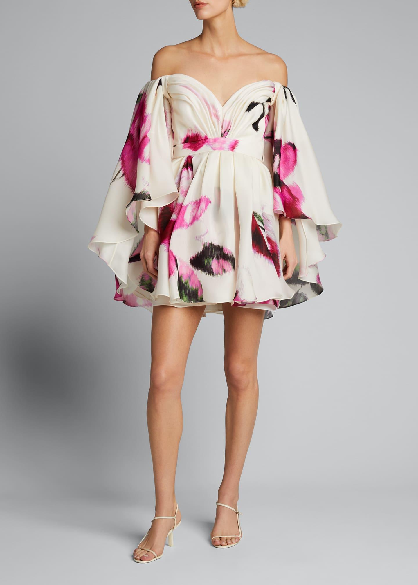 Image 3 of 3: Silk Strapless Caped Mini Dress w/ Belt