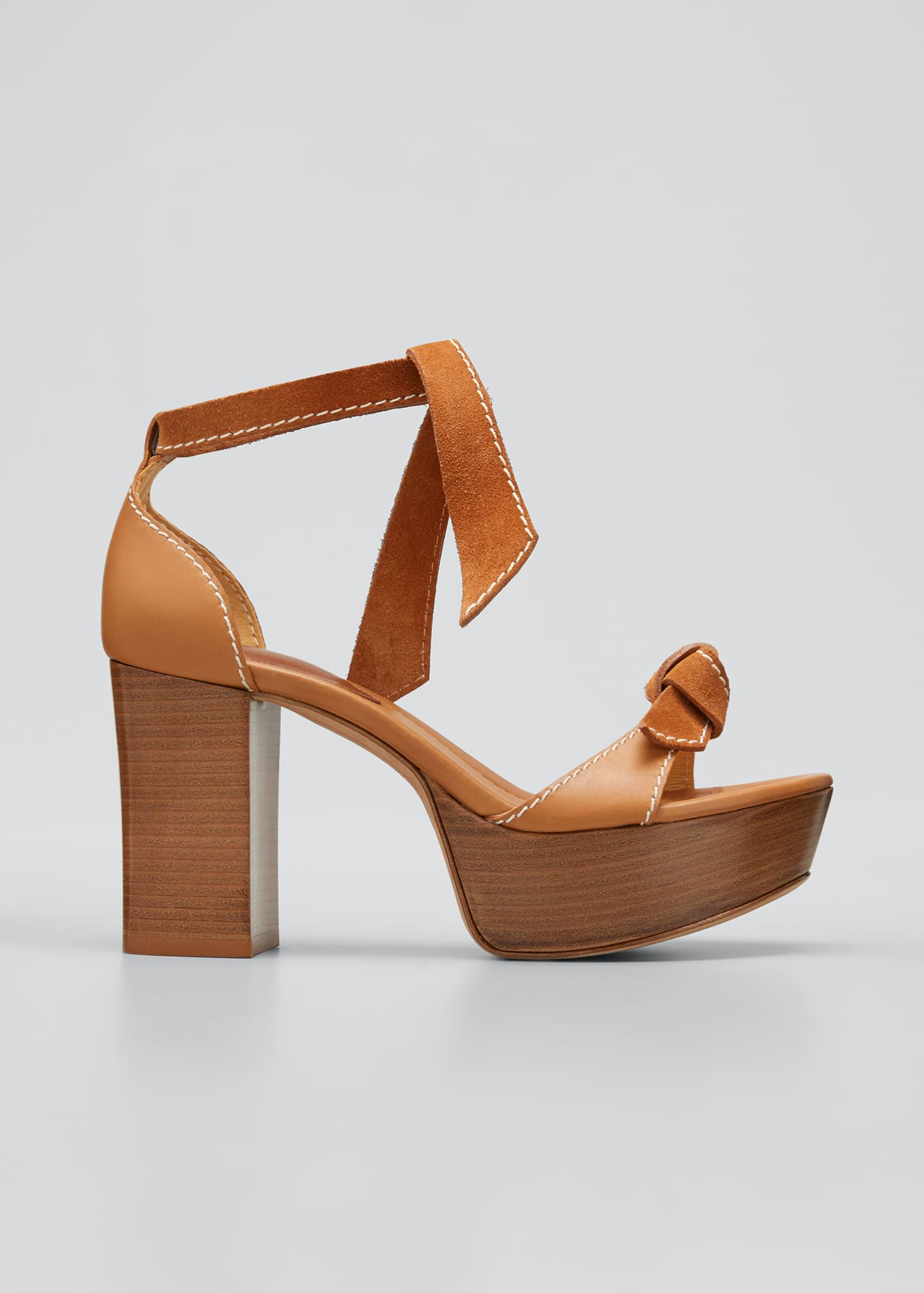 Image 1 of 3: 85mm Clarita Mixed Leather Ankle-Tie Sandals