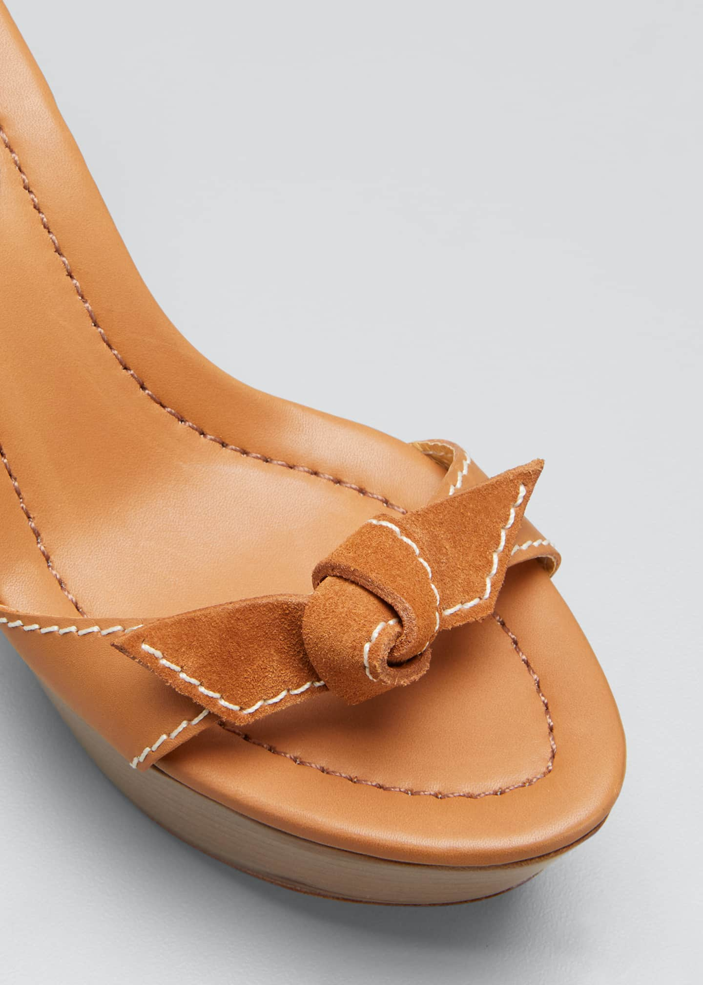 Image 3 of 3: 85mm Clarita Mixed Leather Ankle-Tie Sandals