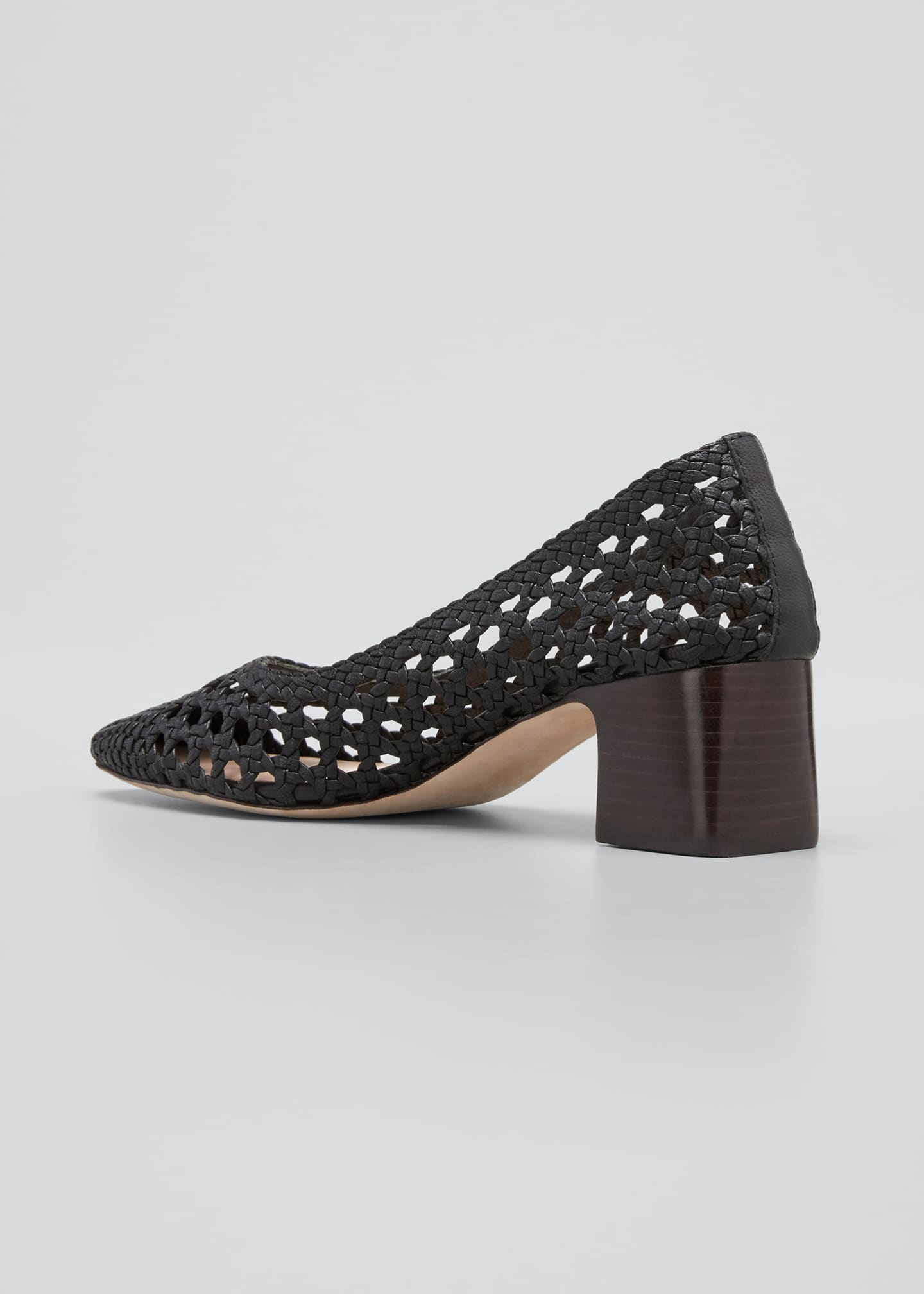 Image 2 of 3: Imogene Woven Leather Low-Heel Pumps