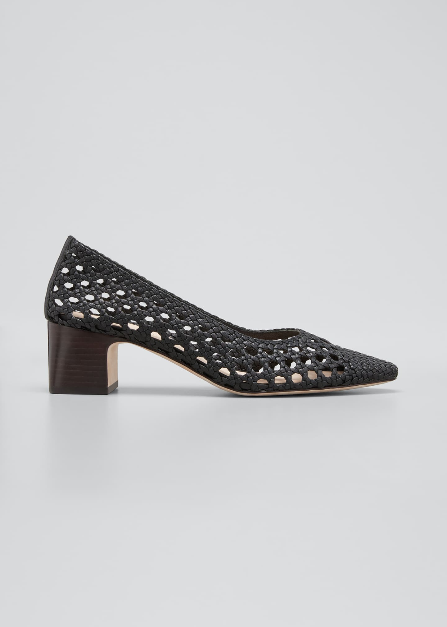 Image 1 of 3: Imogene Woven Leather Low-Heel Pumps