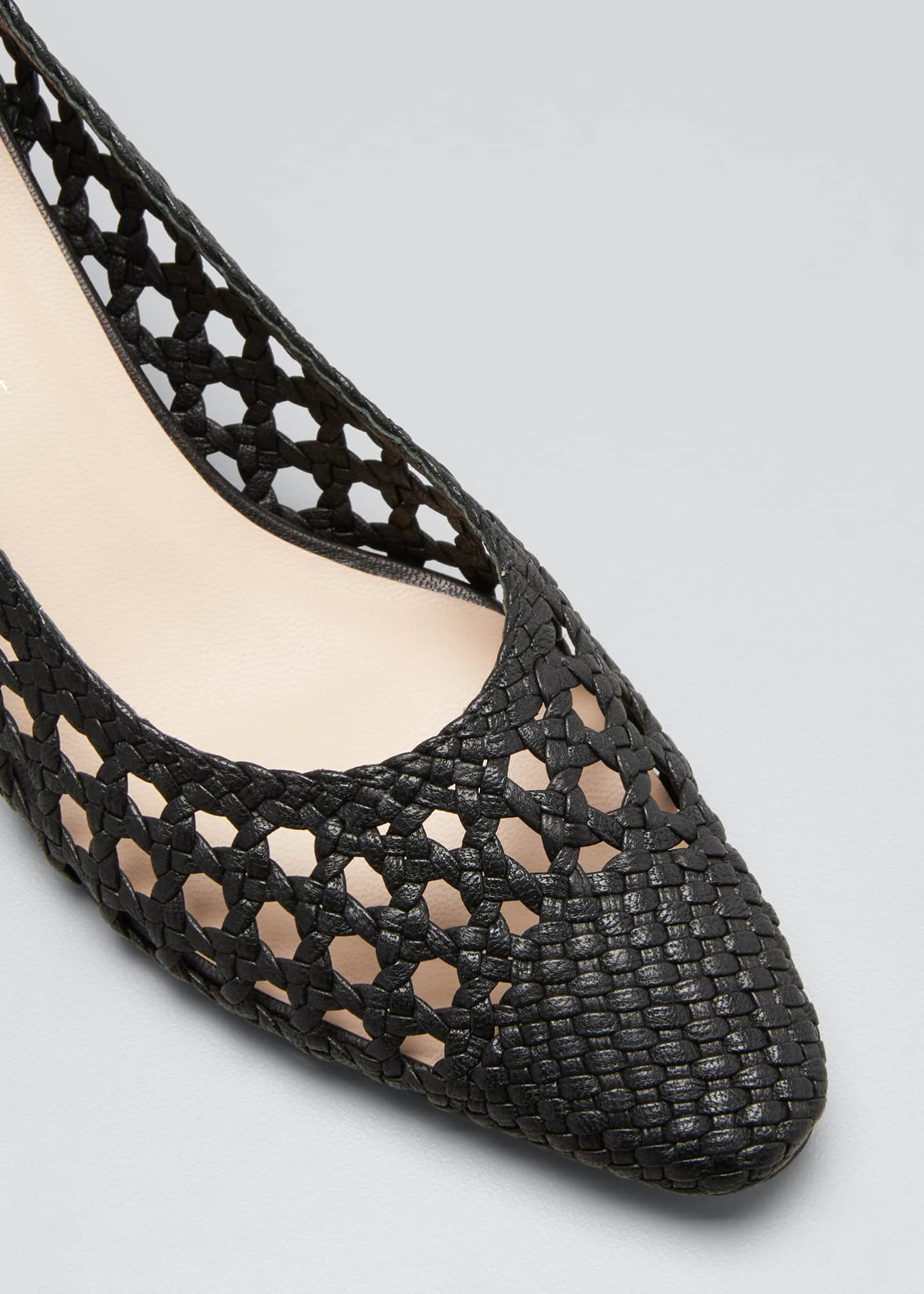 Image 3 of 3: Imogene Woven Leather Low-Heel Pumps