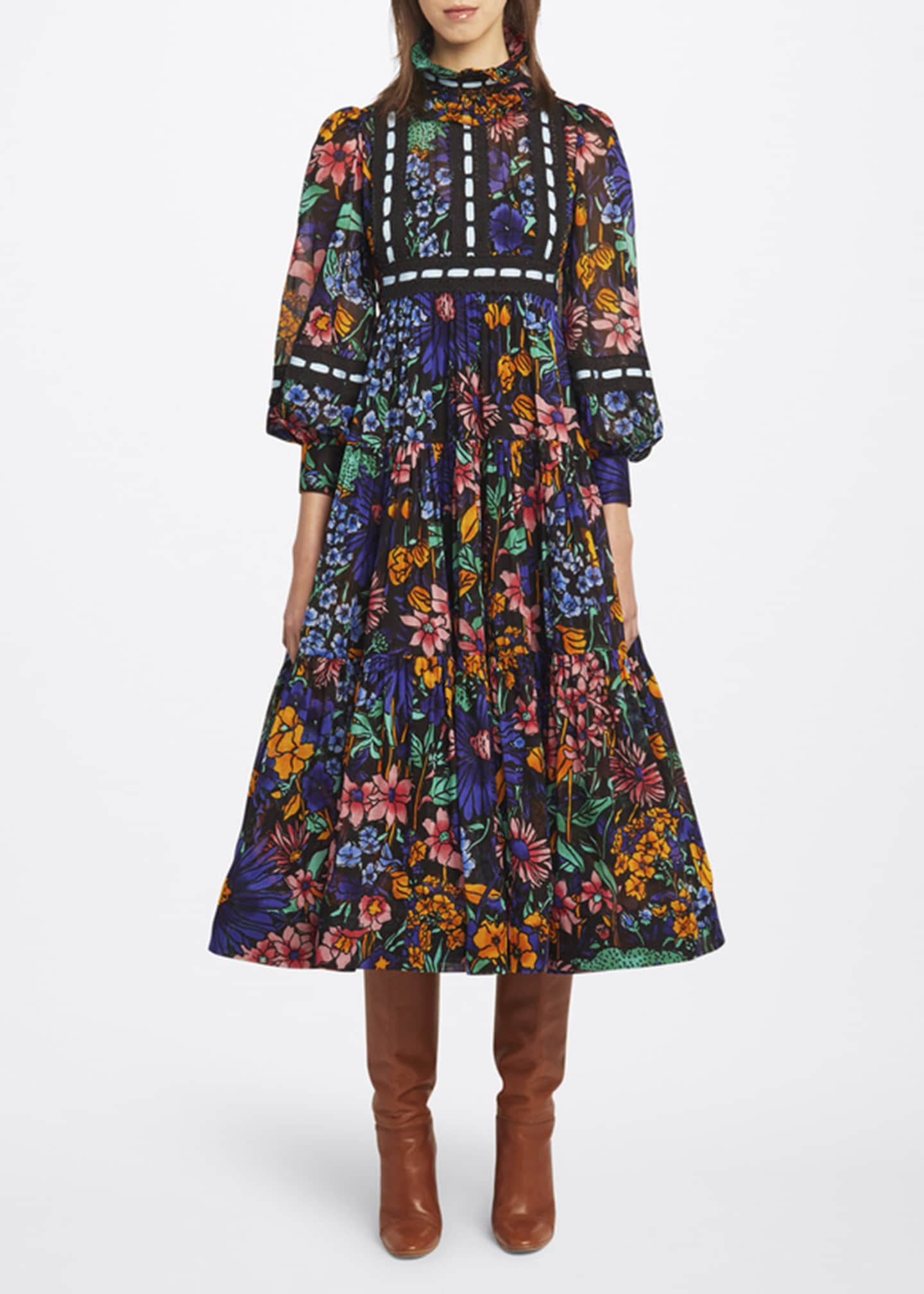 Image 1 of 2: Floral-Print Tiered Voile Prairie Dress