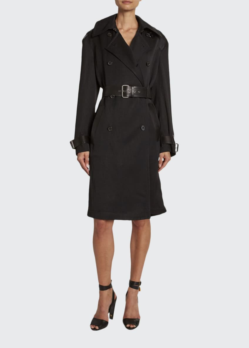TOM FORD Leather-Trim Double-Breasted Trench Coat & Matching