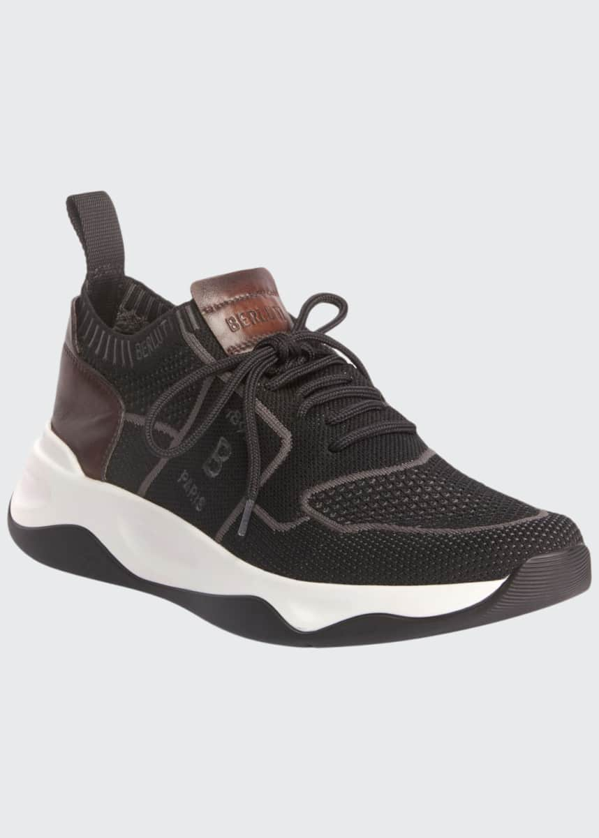 Berluti Men's Shadow Knit Sneaker with Leather Details