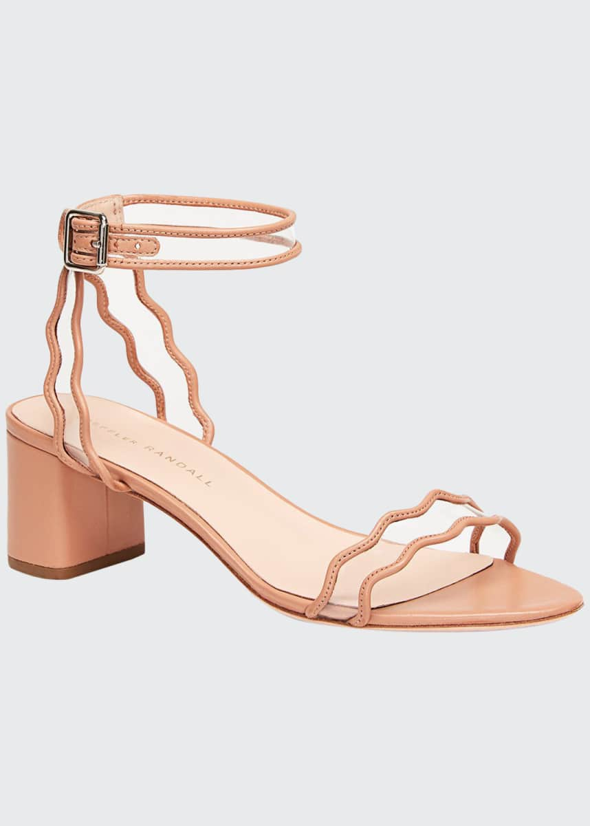 Loeffler Randall Wavy Clear-Strap Leather Sandals