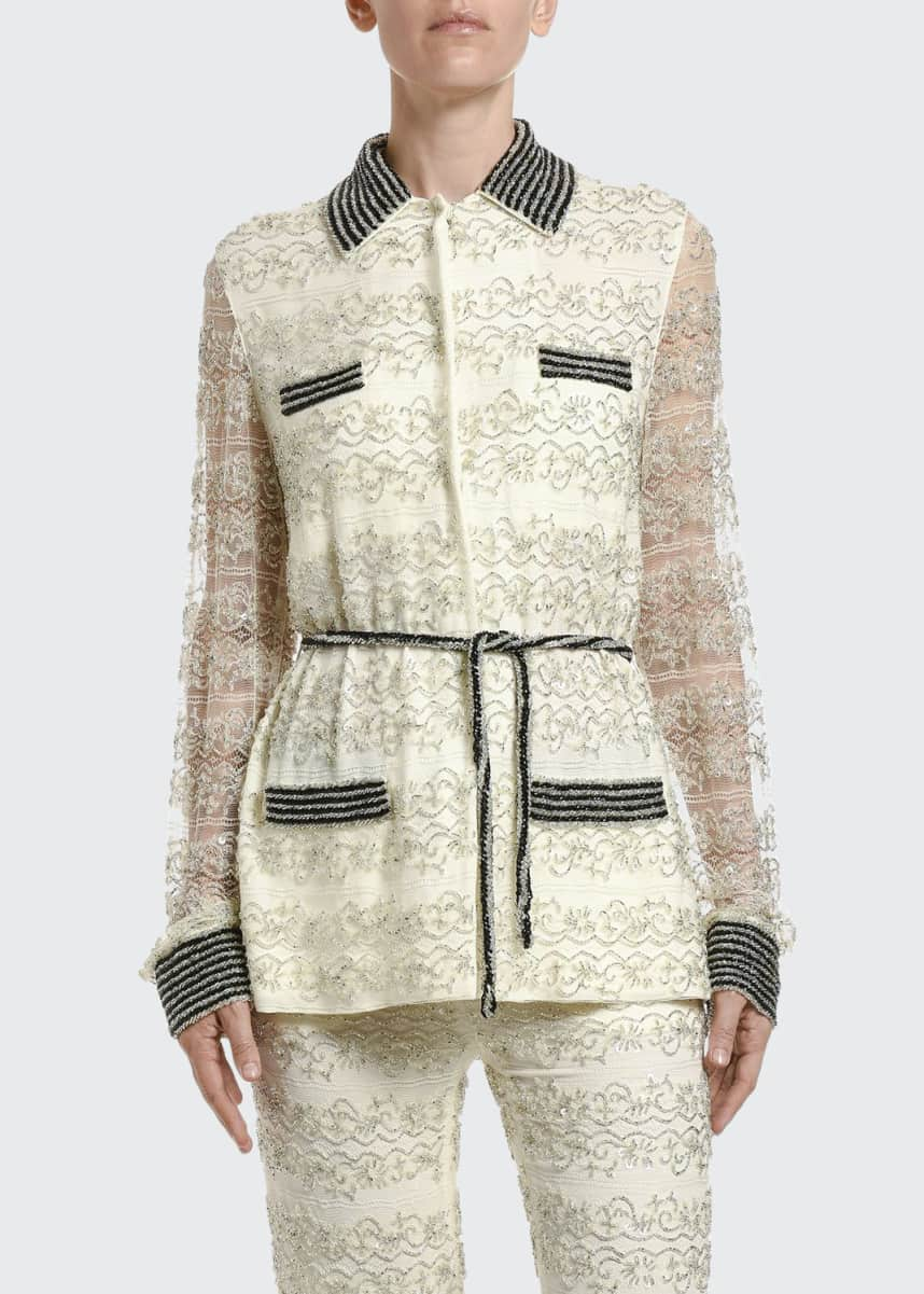 Valentino Embroidered Lace Pajama Blouse