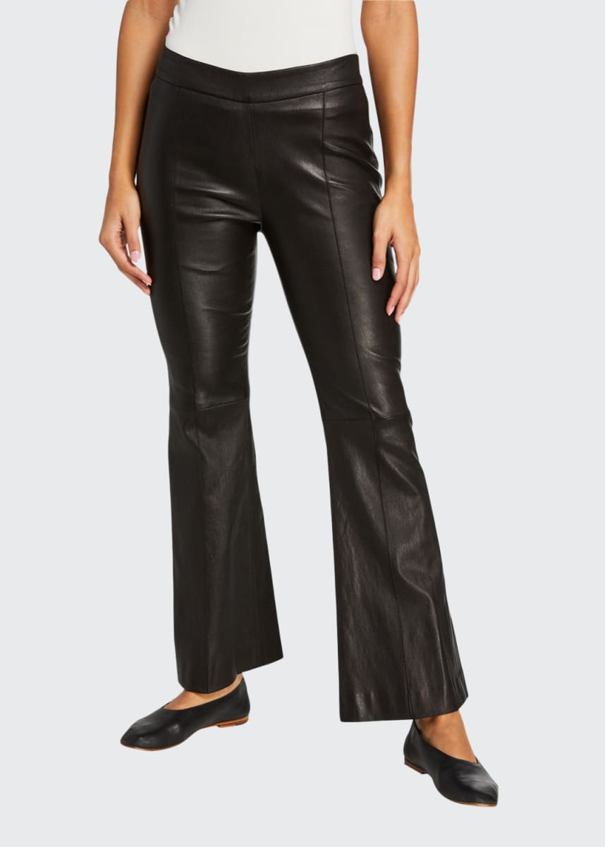 Rosetta Getty Stretch Leather Cropped Flare Pants