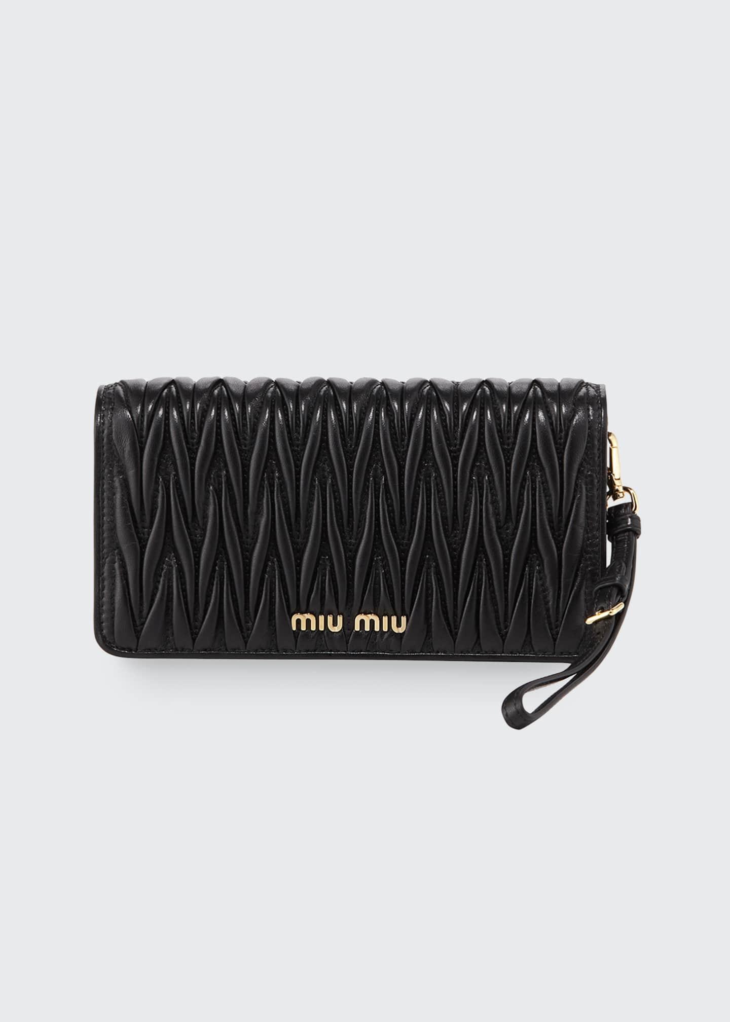 Miu Miu Matelasse Wallet On A Chain Tech