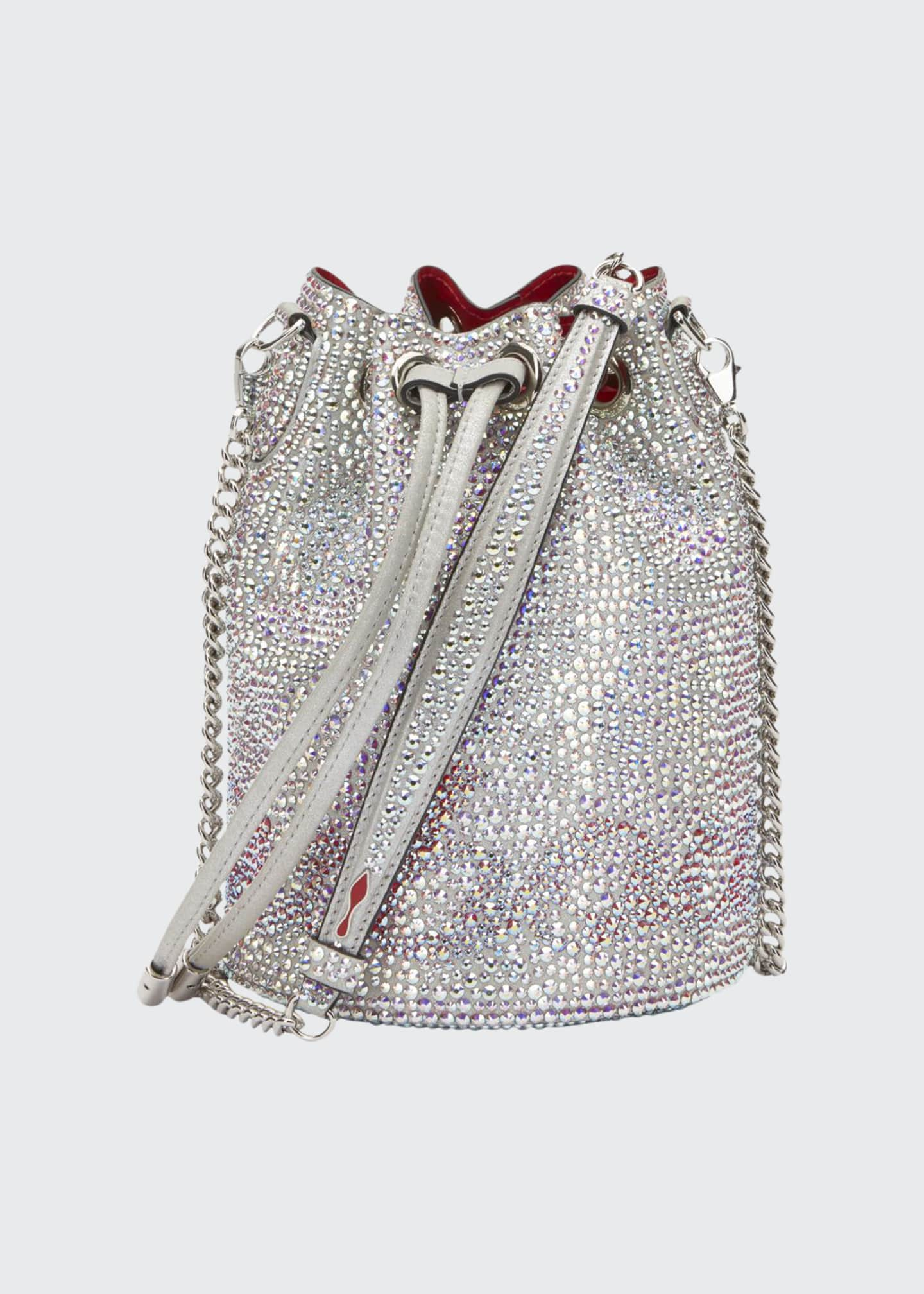 Christian Louboutin Marie Jane Crystal-Beaded Suede Bucket Bag