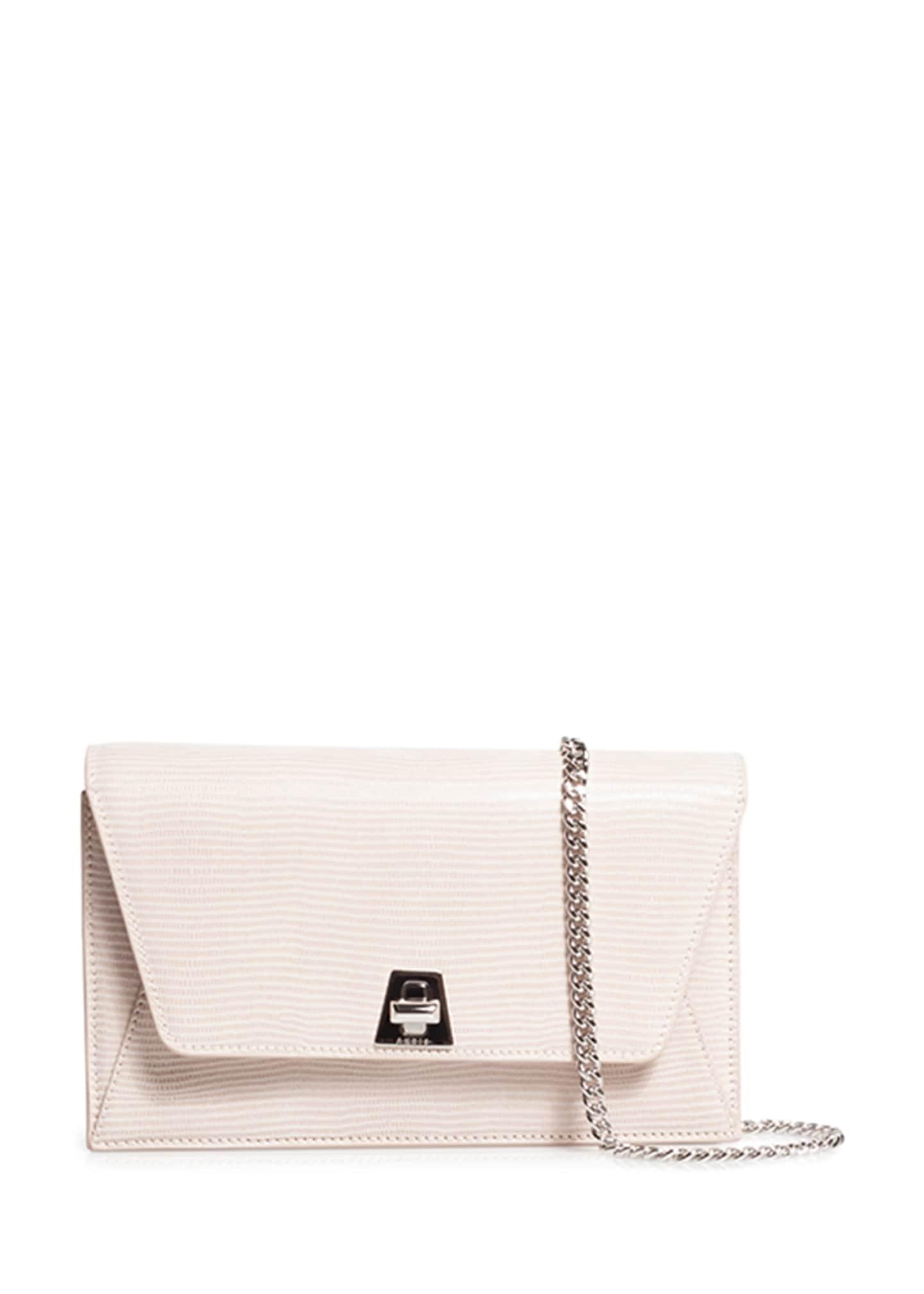 Akris Anouk Lizard-Print Clutch Bag w/Chain