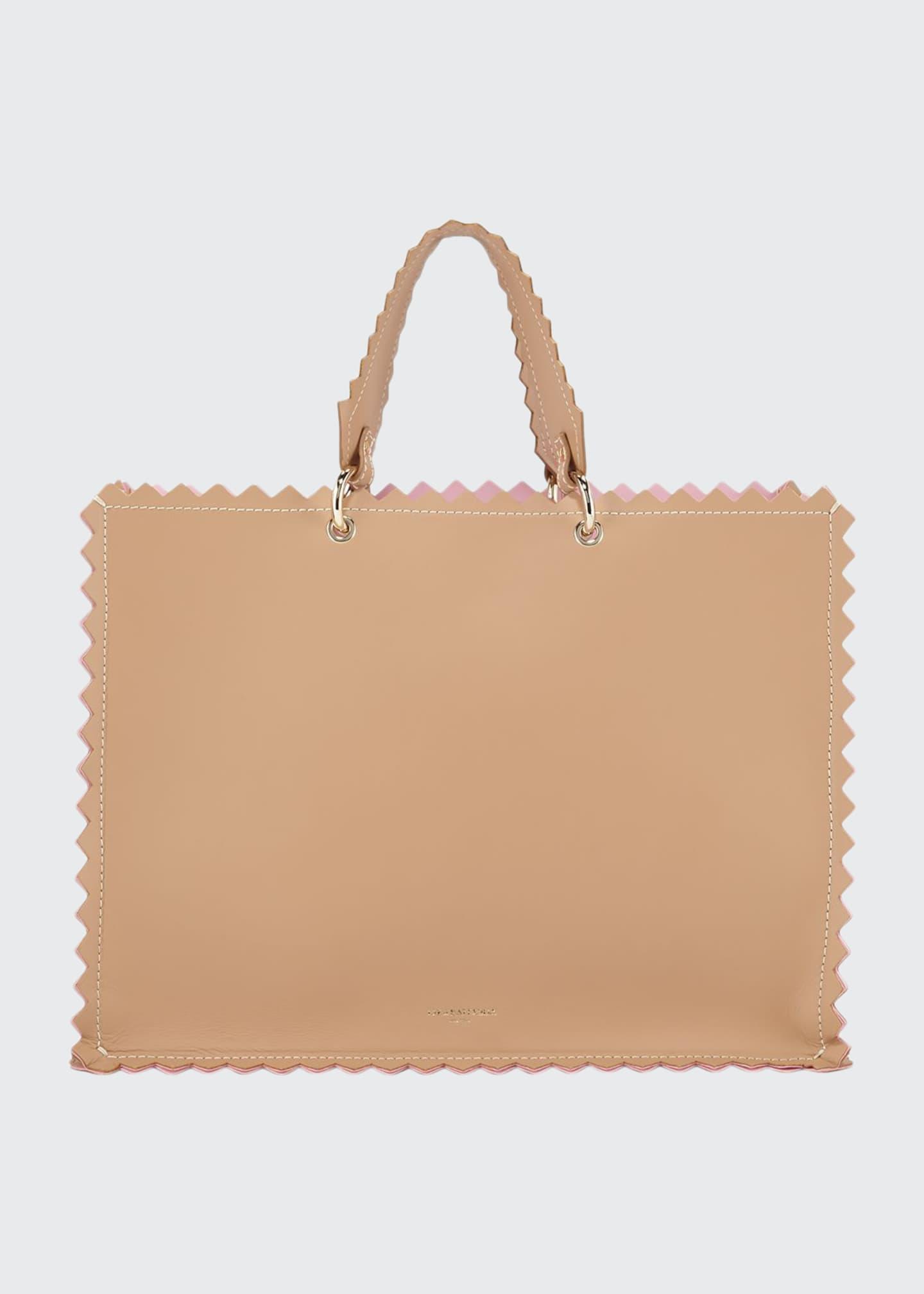 Sara Battaglia Helena Leather Metallic Tote Bag