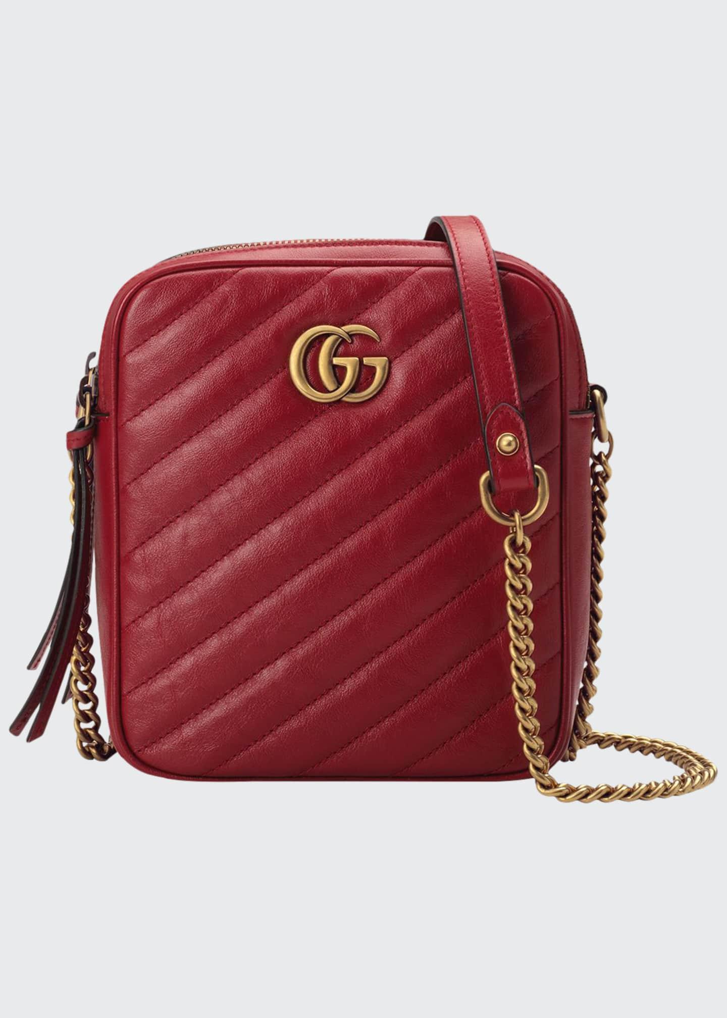 Gucci GG Marmont Tall Chevron Leather Crossbody Bag