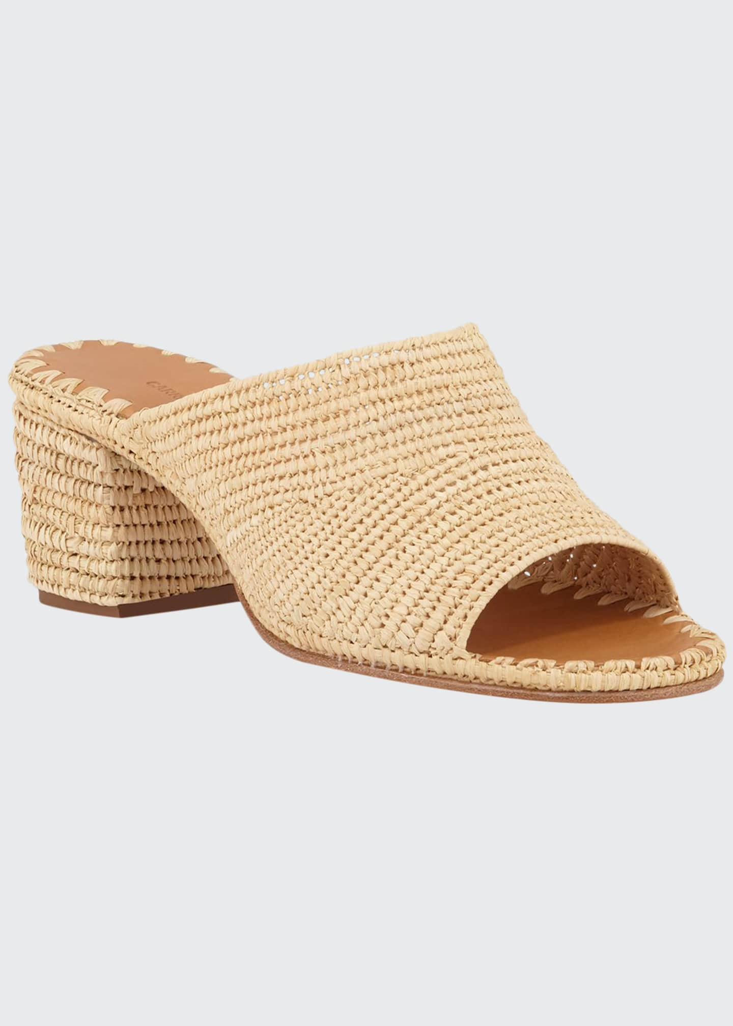 Image 1 of 3: Rama Woven Raffia Slide Sandals