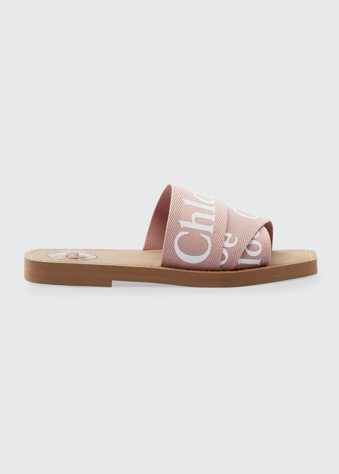 Chloe Woody Flat Logo Ribbon Slide Sandals