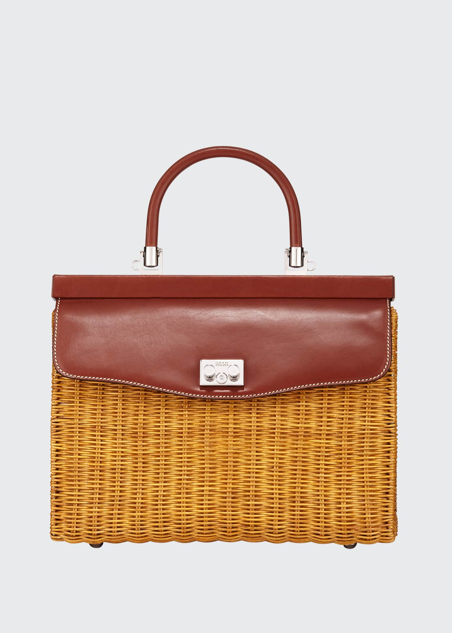 RODO Wicker Frame Top Handle Bag
