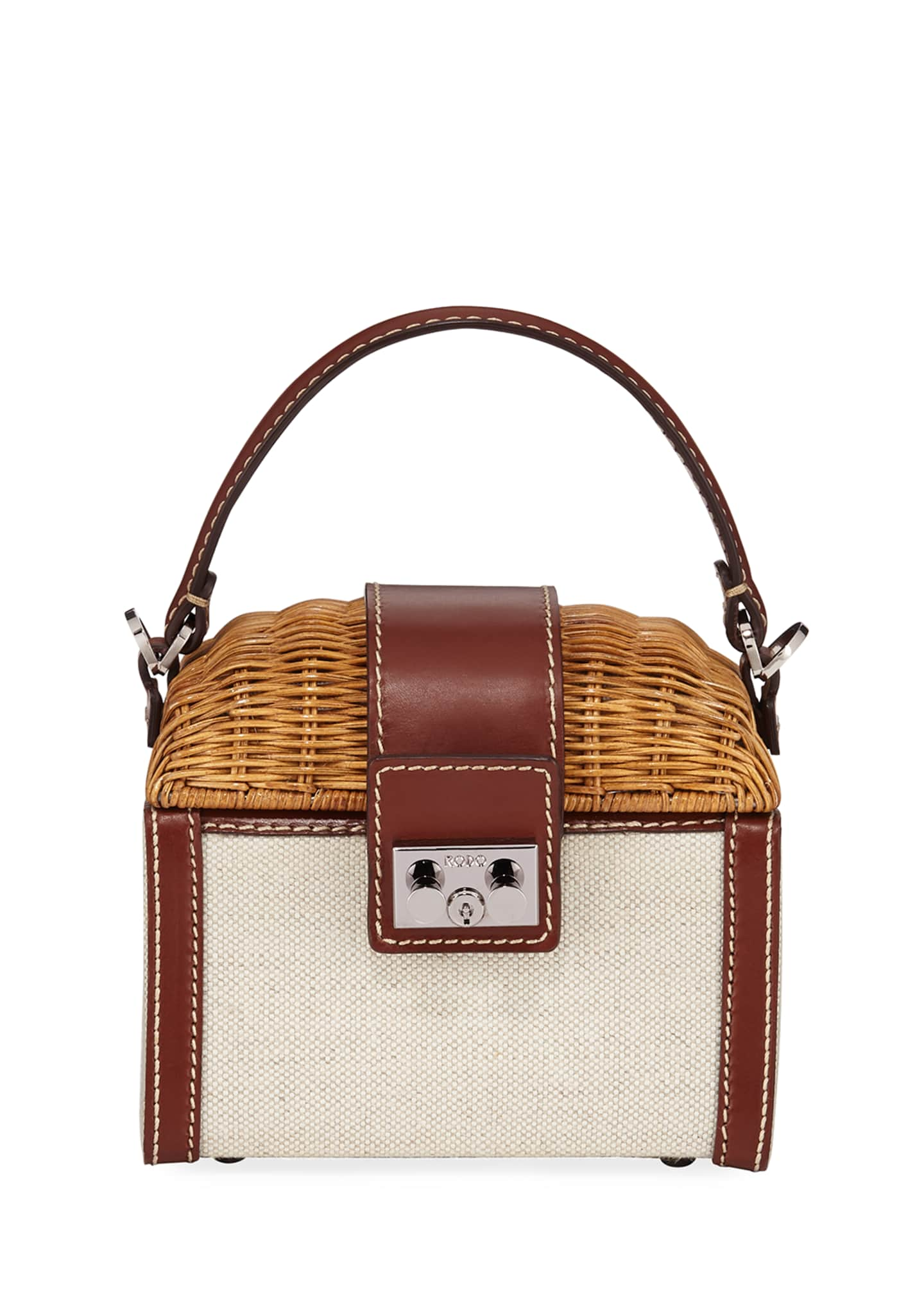 RODO Wicker and Linen Box Top Handle Bag