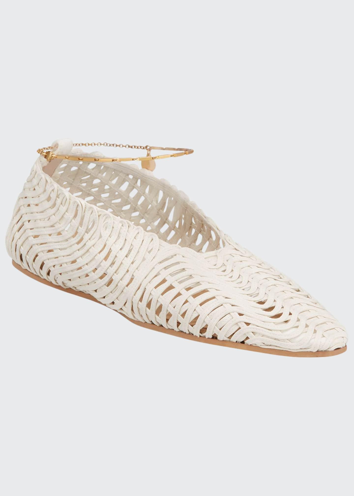 Stella McCartney Crochet Ankle-Chain Flats