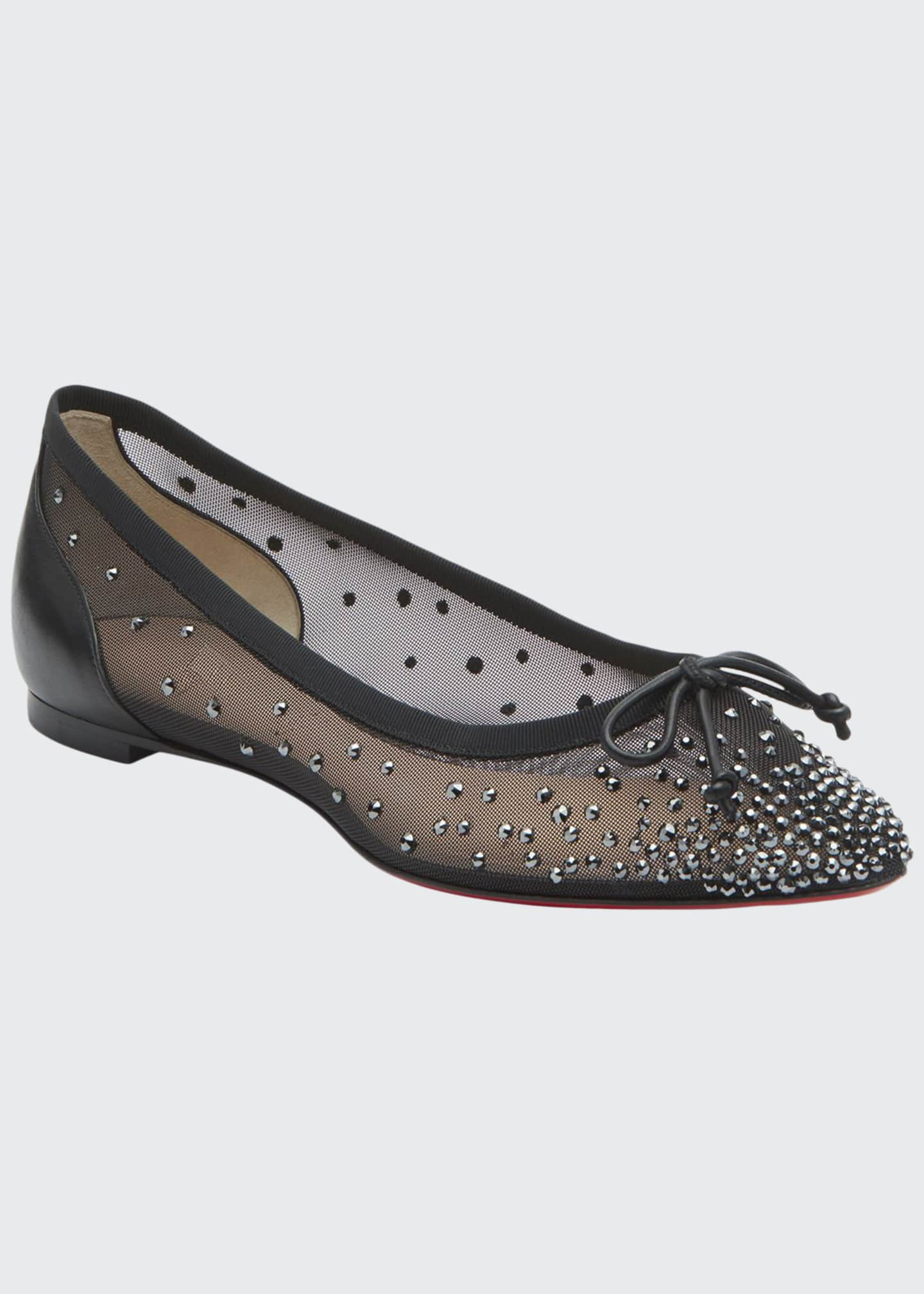 Christian Louboutin Patio Embellished Mesh Red Sole Flats
