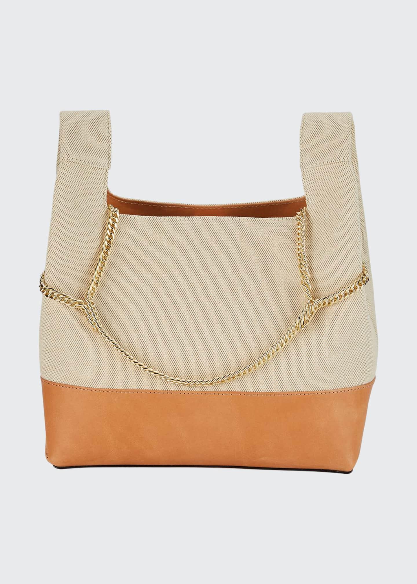 Hayward Chain Linen Top-Handle Bag