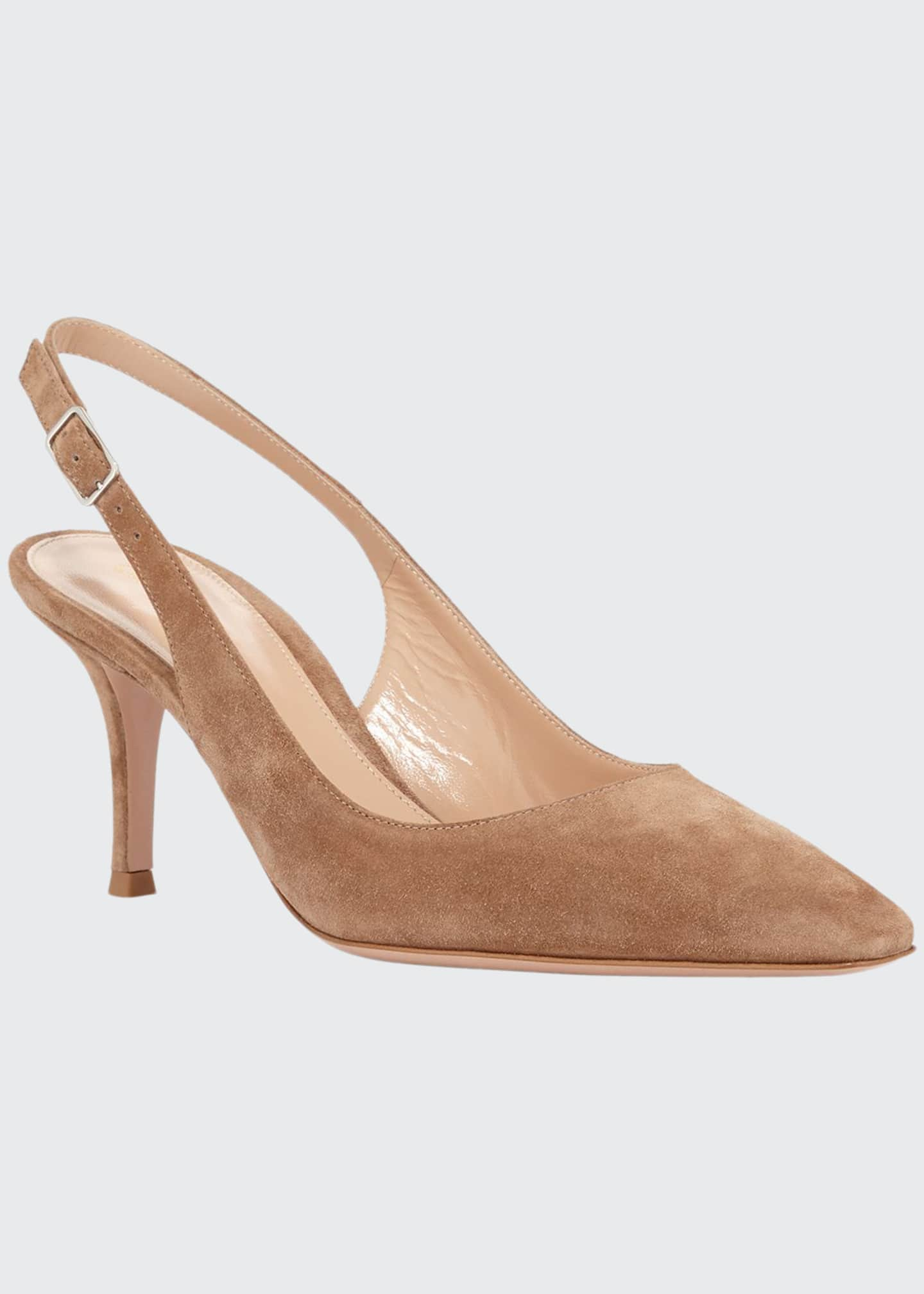 Image 1 of 3: Suede Slingback Mule Pumps
