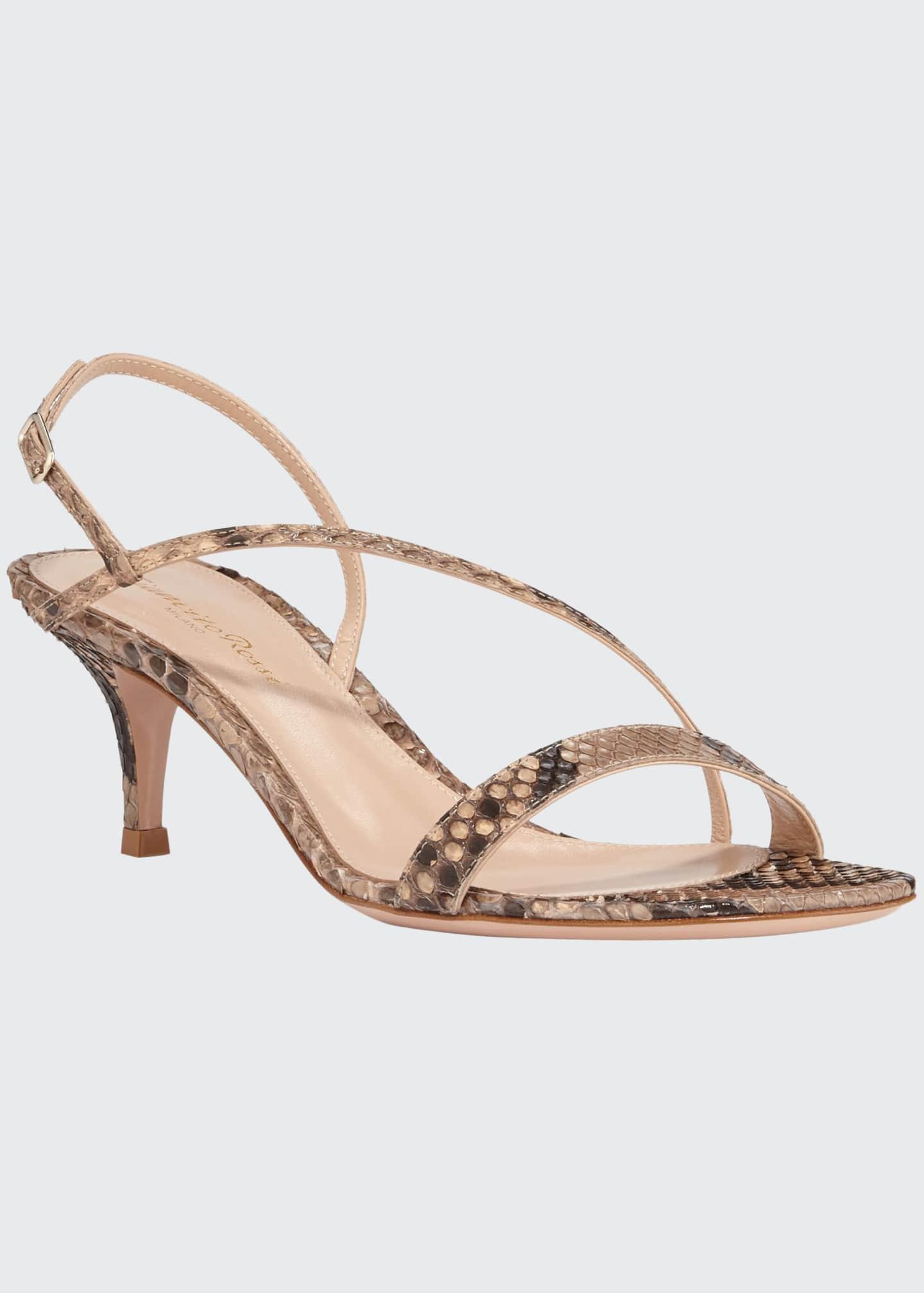 Gianvito Rossi Python Asymmetric Slingback Sandals