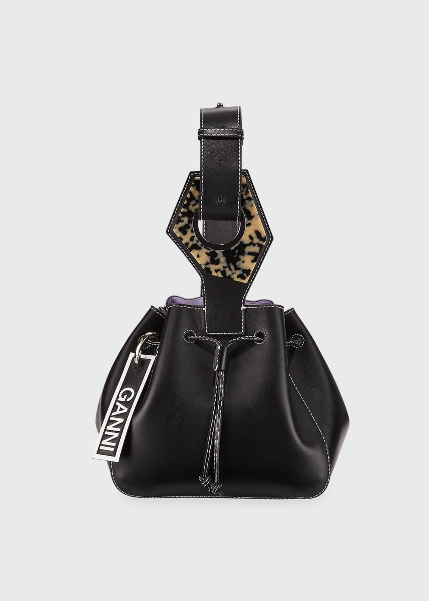 Ganni Leather Mini Cinch Bucket Bag
