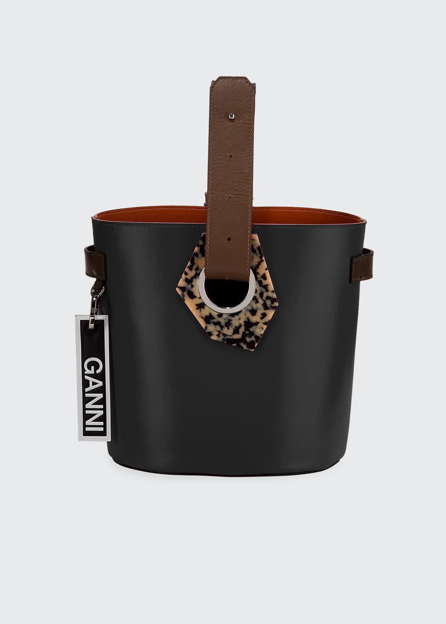 Ganni Leather Open Bucket Bag