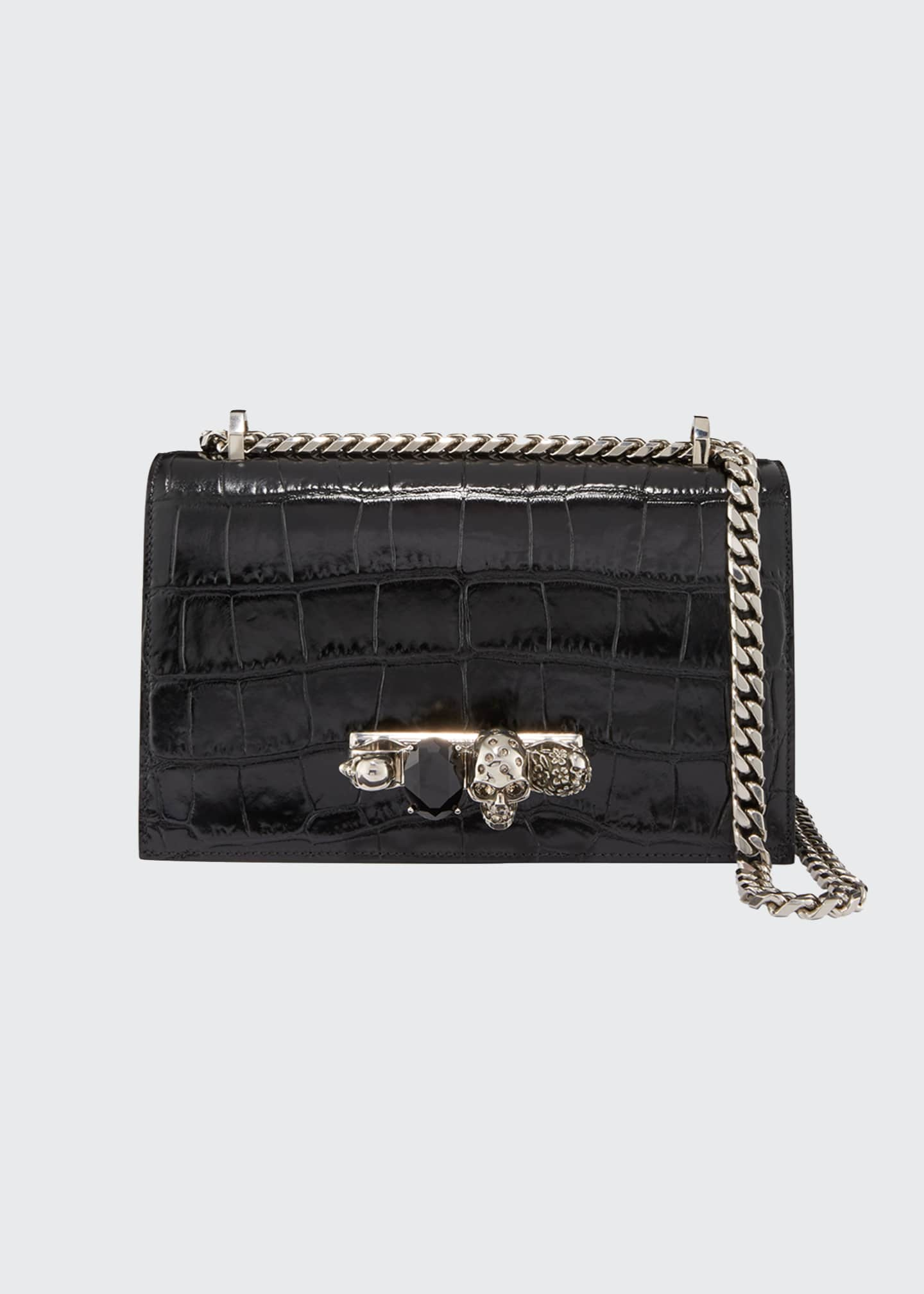 Image 1 of 3: Shiny Croc-Embossed Jeweled Shoulder Bag, Black