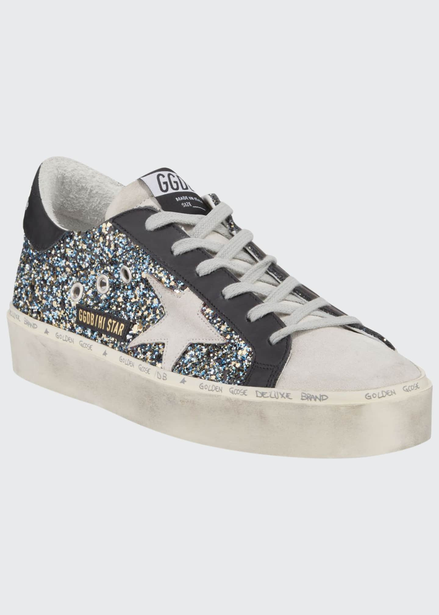 Image 1 of 3: Hi Star Glittered Leather Platform Sneakers
