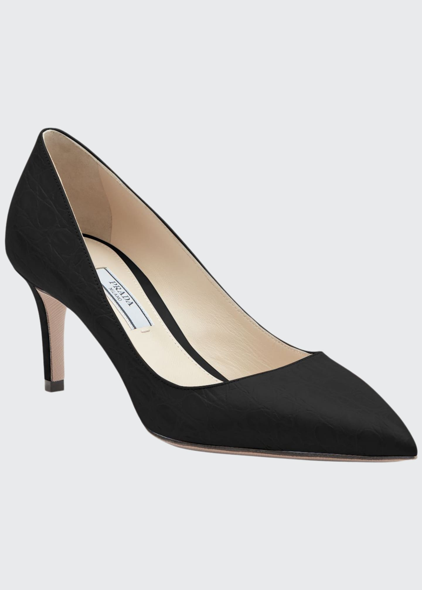 Prada Croco Point-Toe 65mm Pumps
