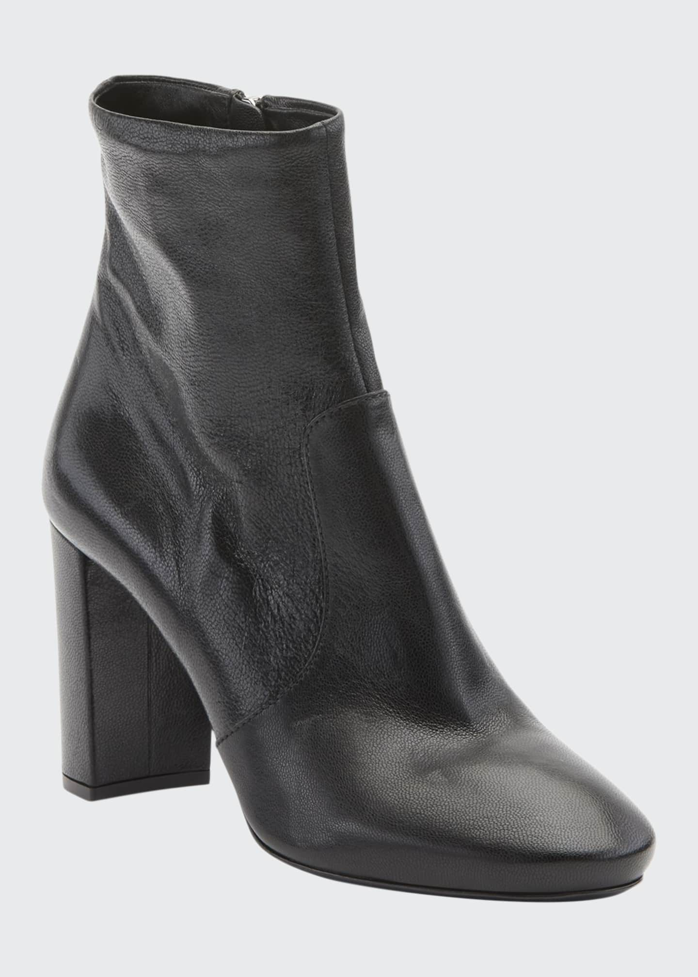 Image 1 of 2: Leather Block-Heel Booties