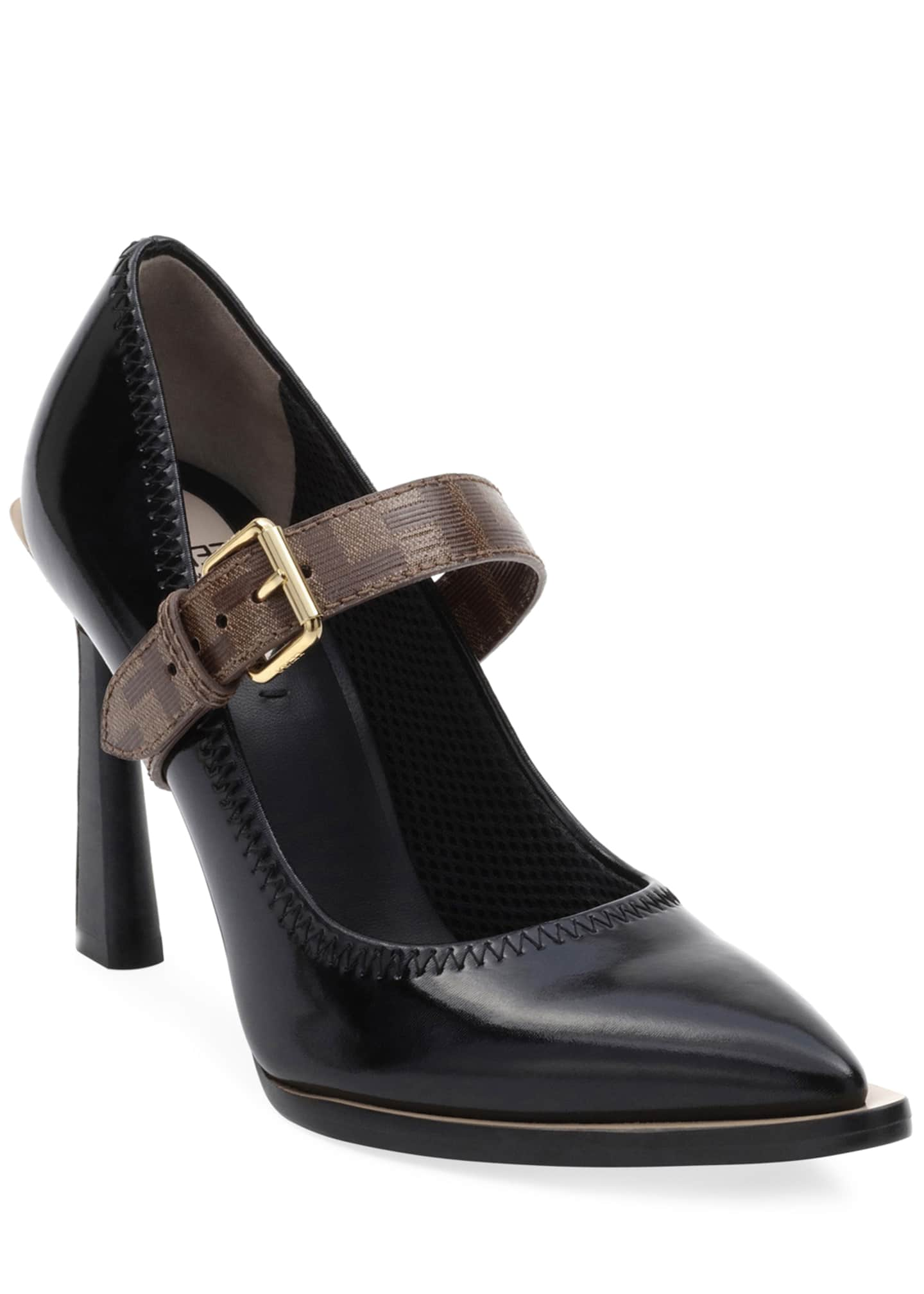Fendi Neoprene Logo Mary Jane Pumps