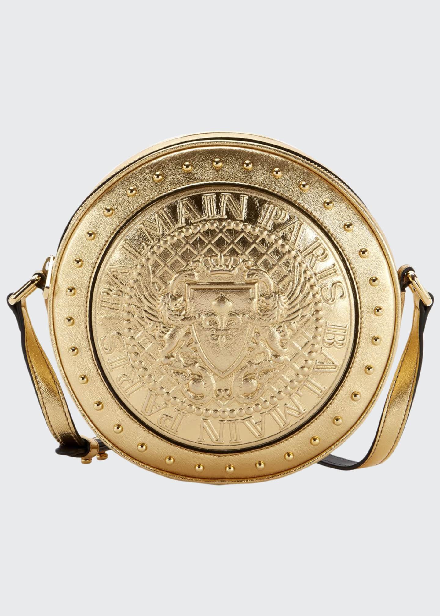 Balmain Disco Laminated Crossbody Bag, Gold