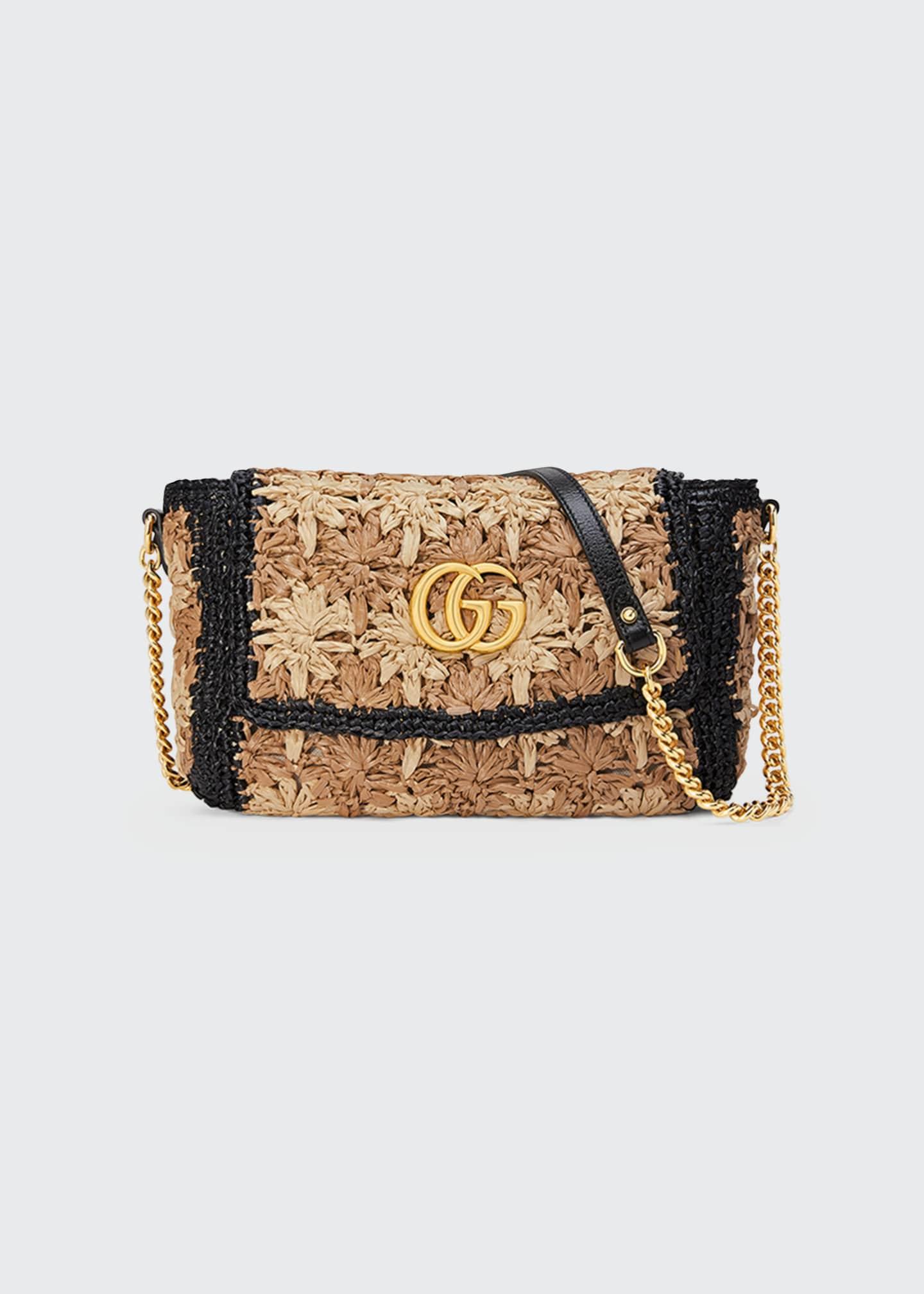 Gucci GG Marmont 2.0 Small Raffia Shoulder Bag