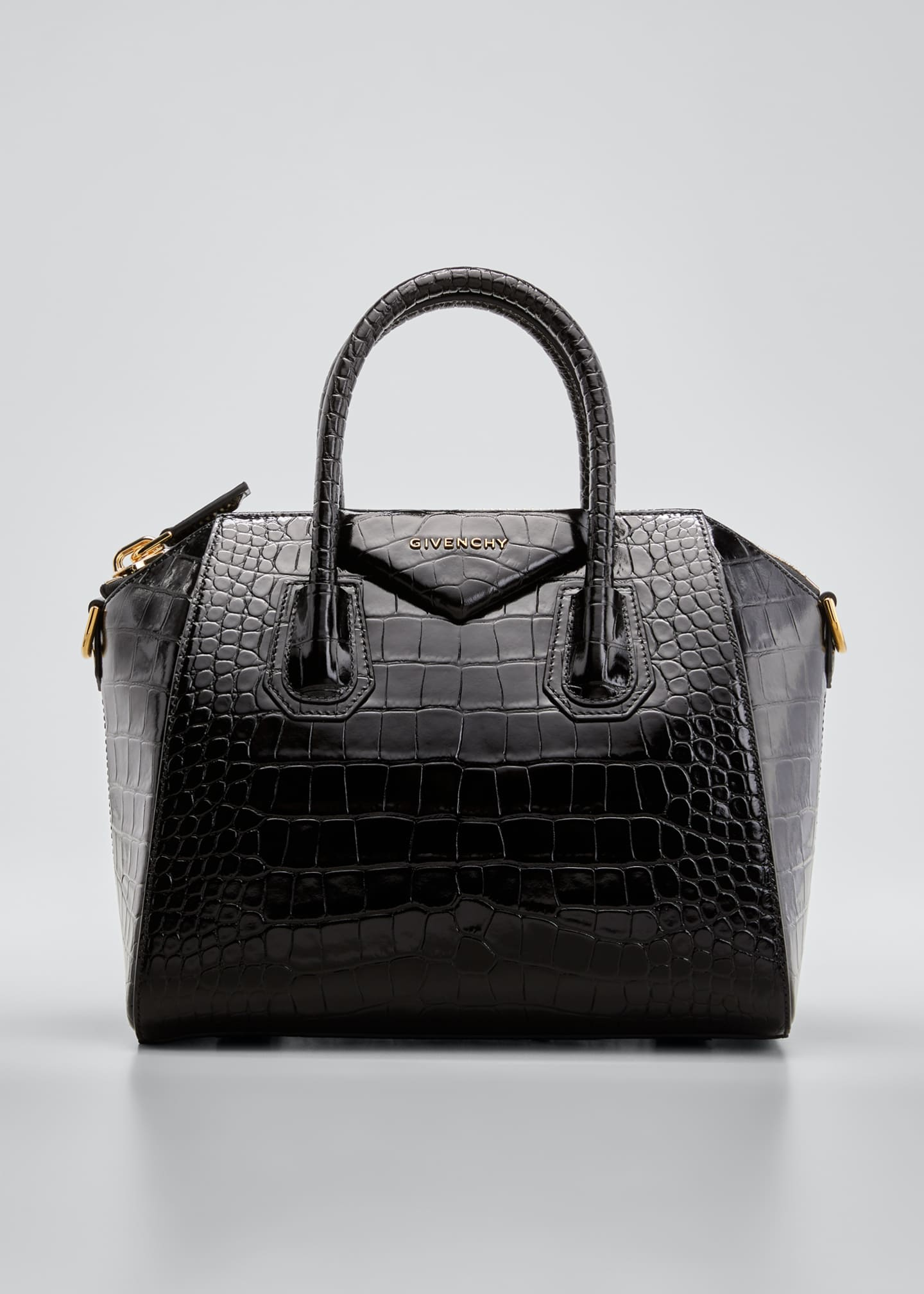 Image 1 of 4: Antigona Small Croc-Embossed Leather Satchel Bag