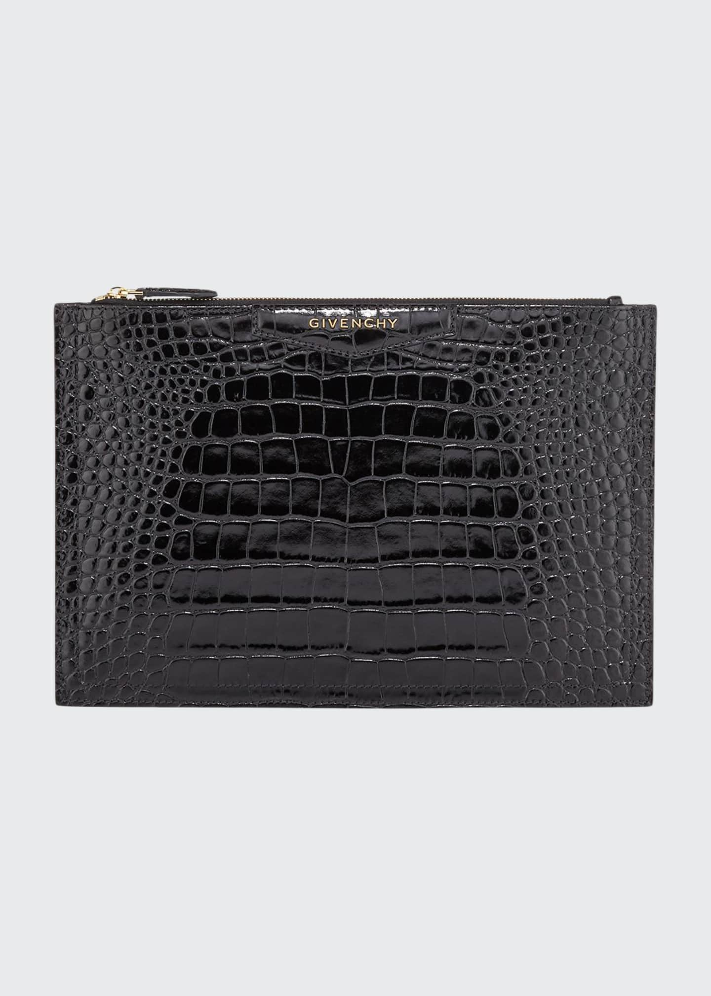 Givenchy Antigona Croc-Embossed Medium Pouch Bag