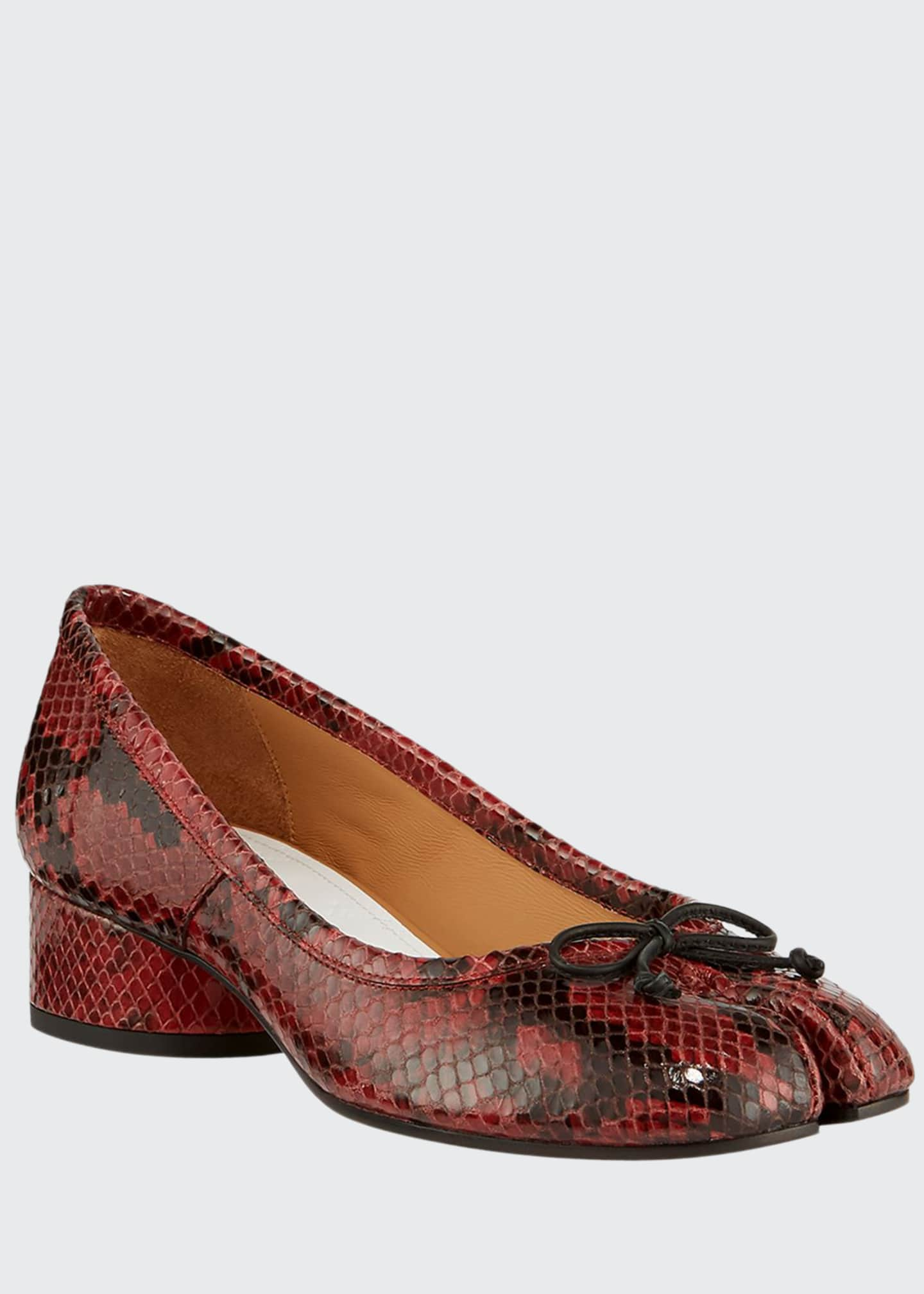 Maison Margiela Tabi Snake-Print Ballerina Pumps with Split
