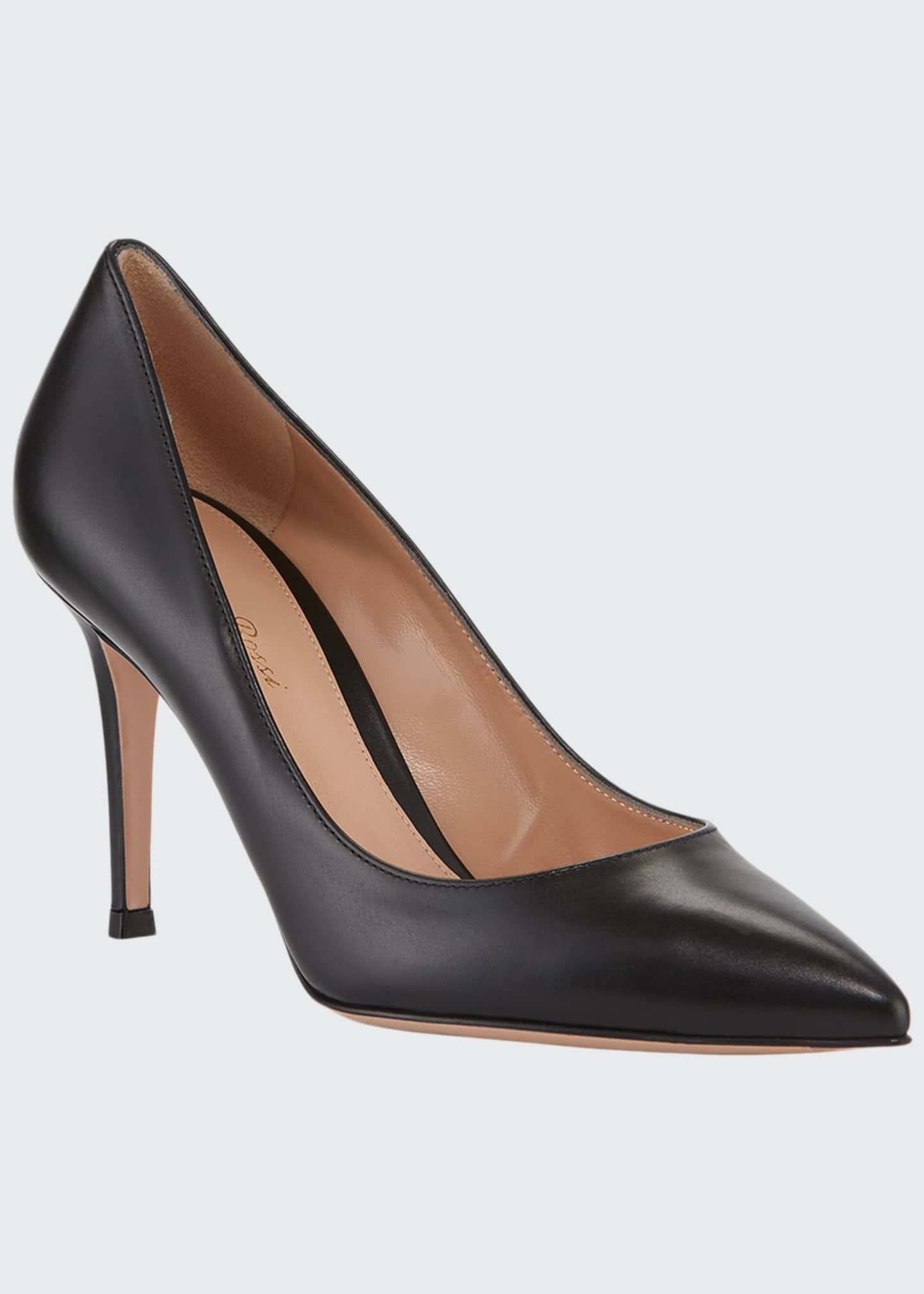 Image 1 of 3: Gianvito 85 Vitello Leather Point-Toe Pumps