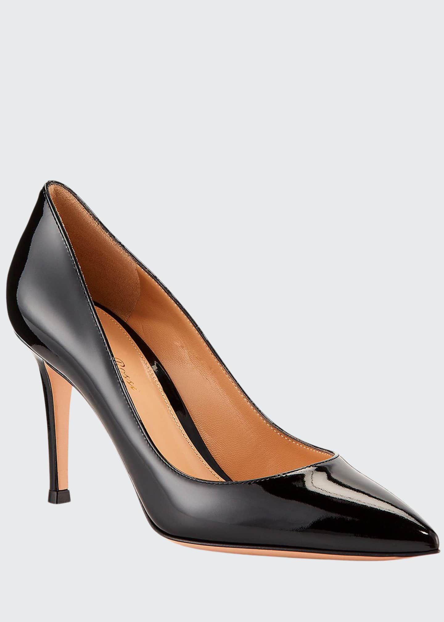 Image 1 of 3: Gianvito 85 Patent Leather Point-Toe Pumps