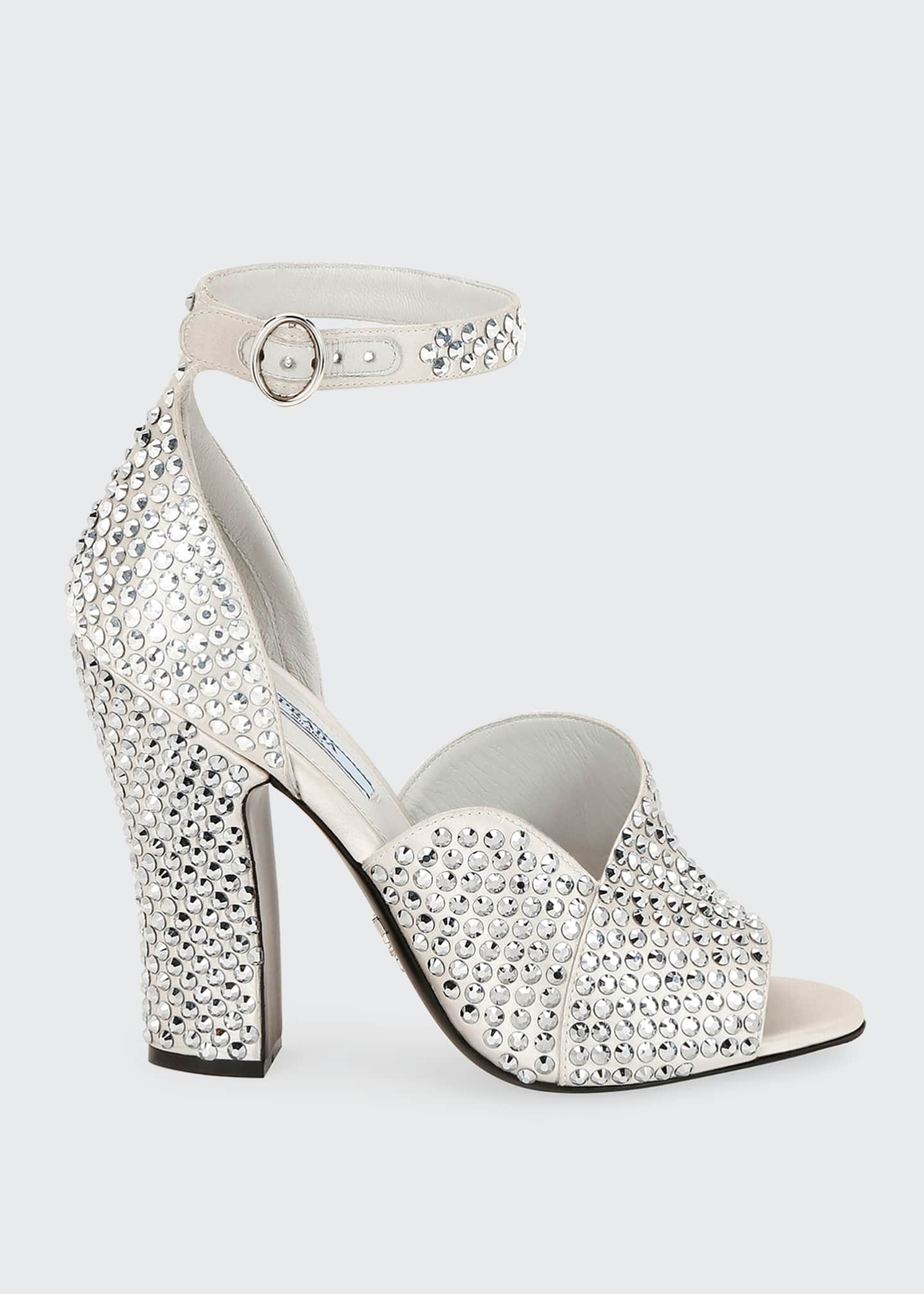 Prada Crystal Satin Ankle-Strap Sandals