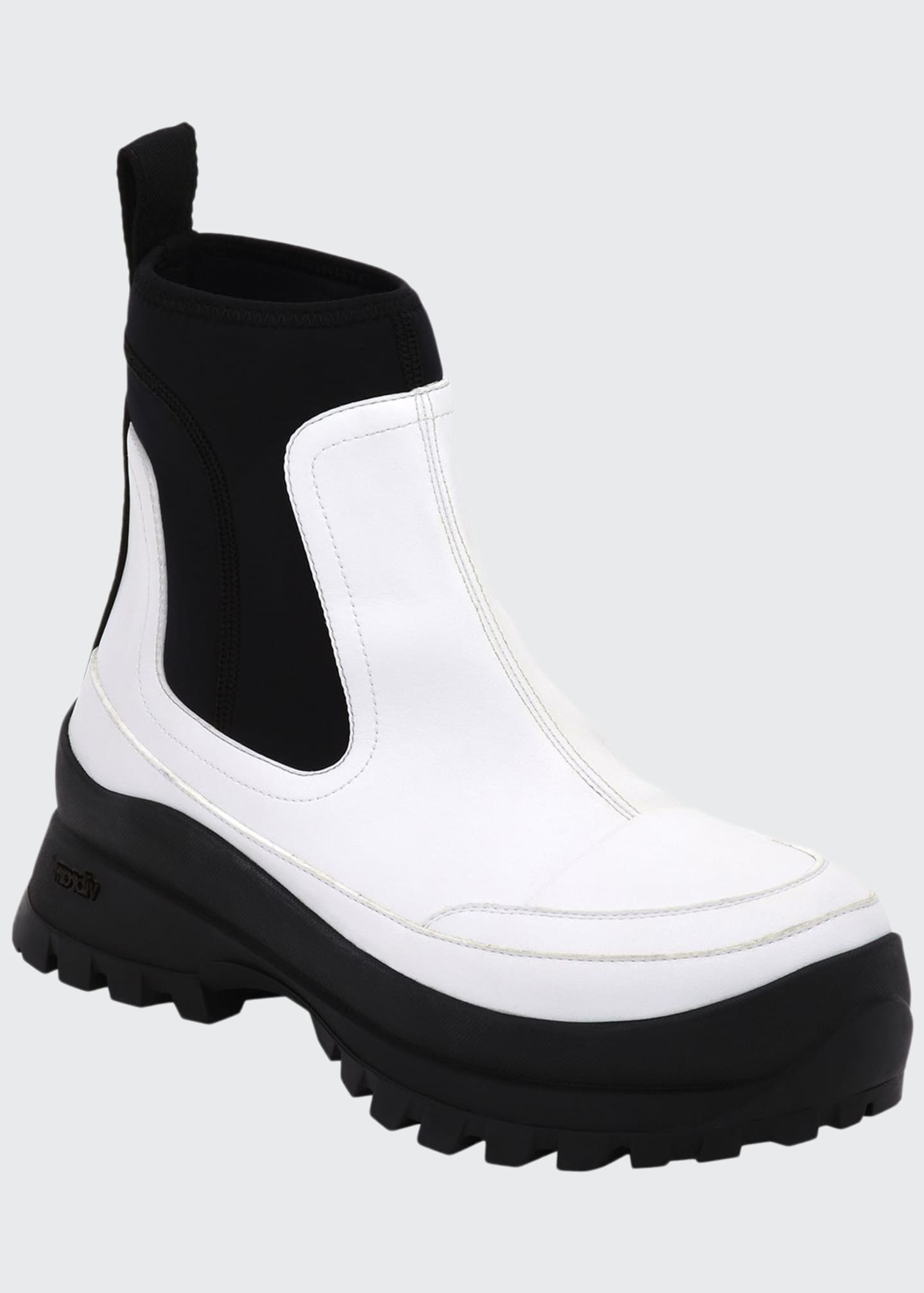 Image 1 of 3: Two-Tone Lug-Sole Ankle Boots