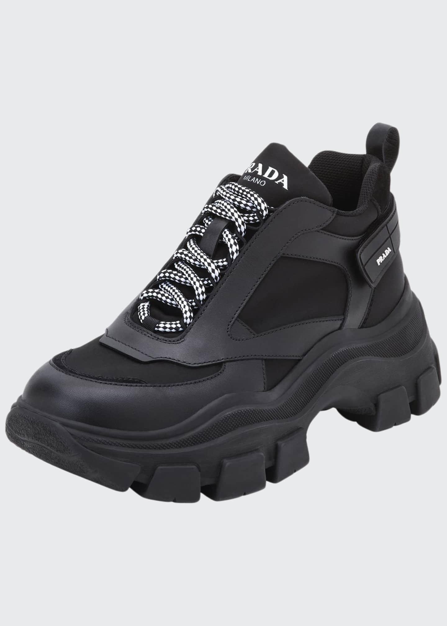 Prada Men's Pegasus Nylon & Leather Chunky Sneakers