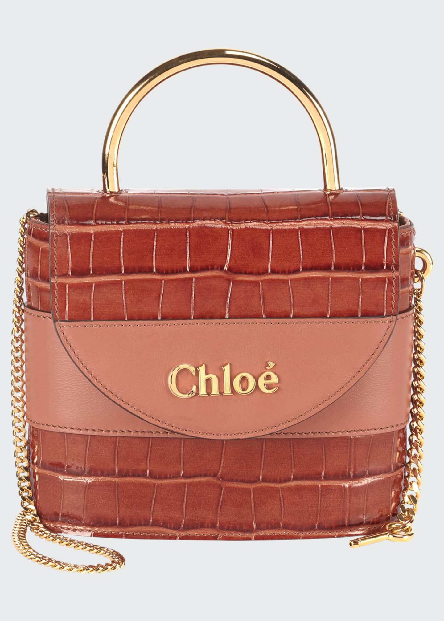 Chloe Aby Lock Croco-Embossed Shoulder Bag with Metal