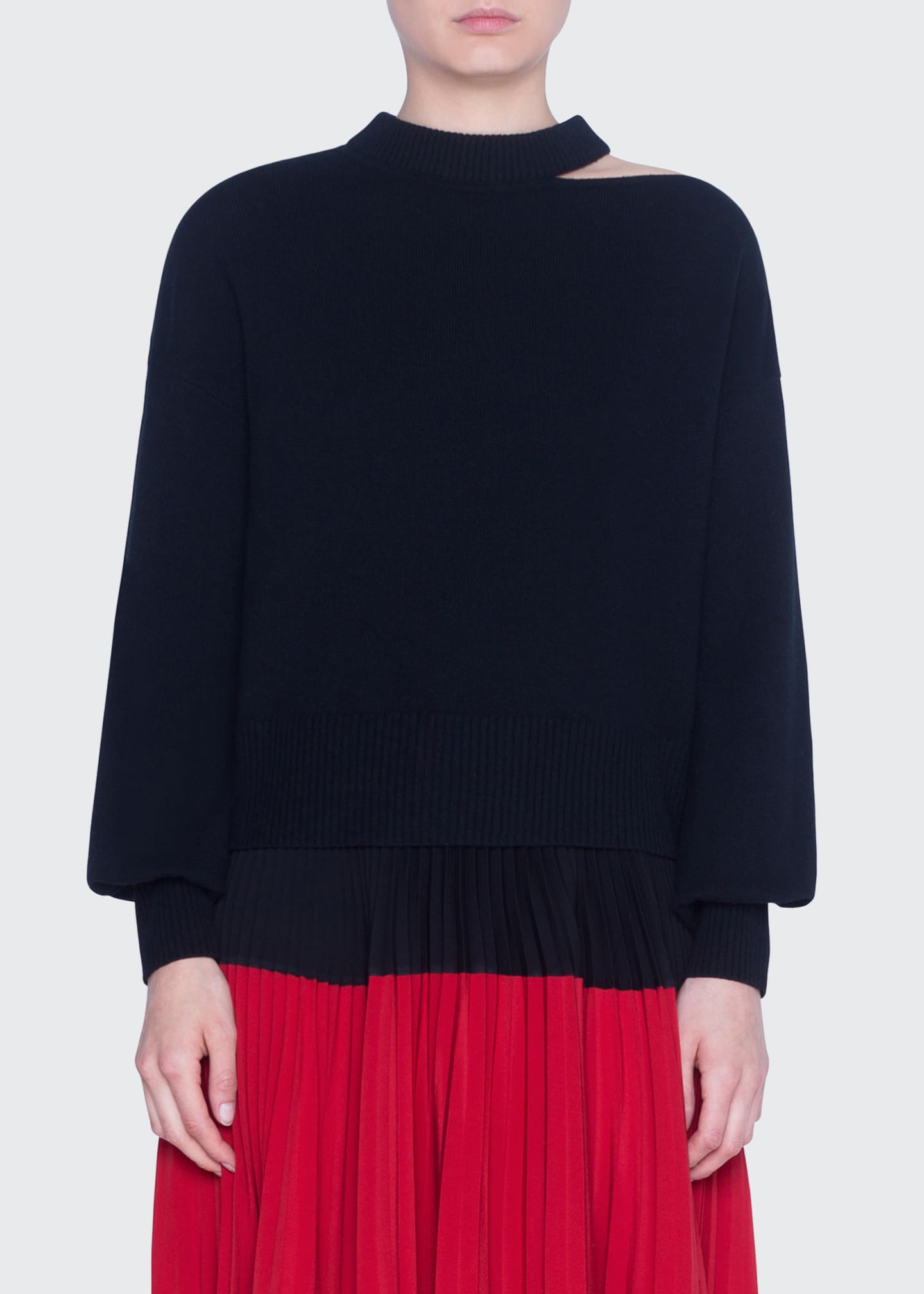 Akris punto Wool-Cashmere Slit-Neck Full-Sleeve Sweaters