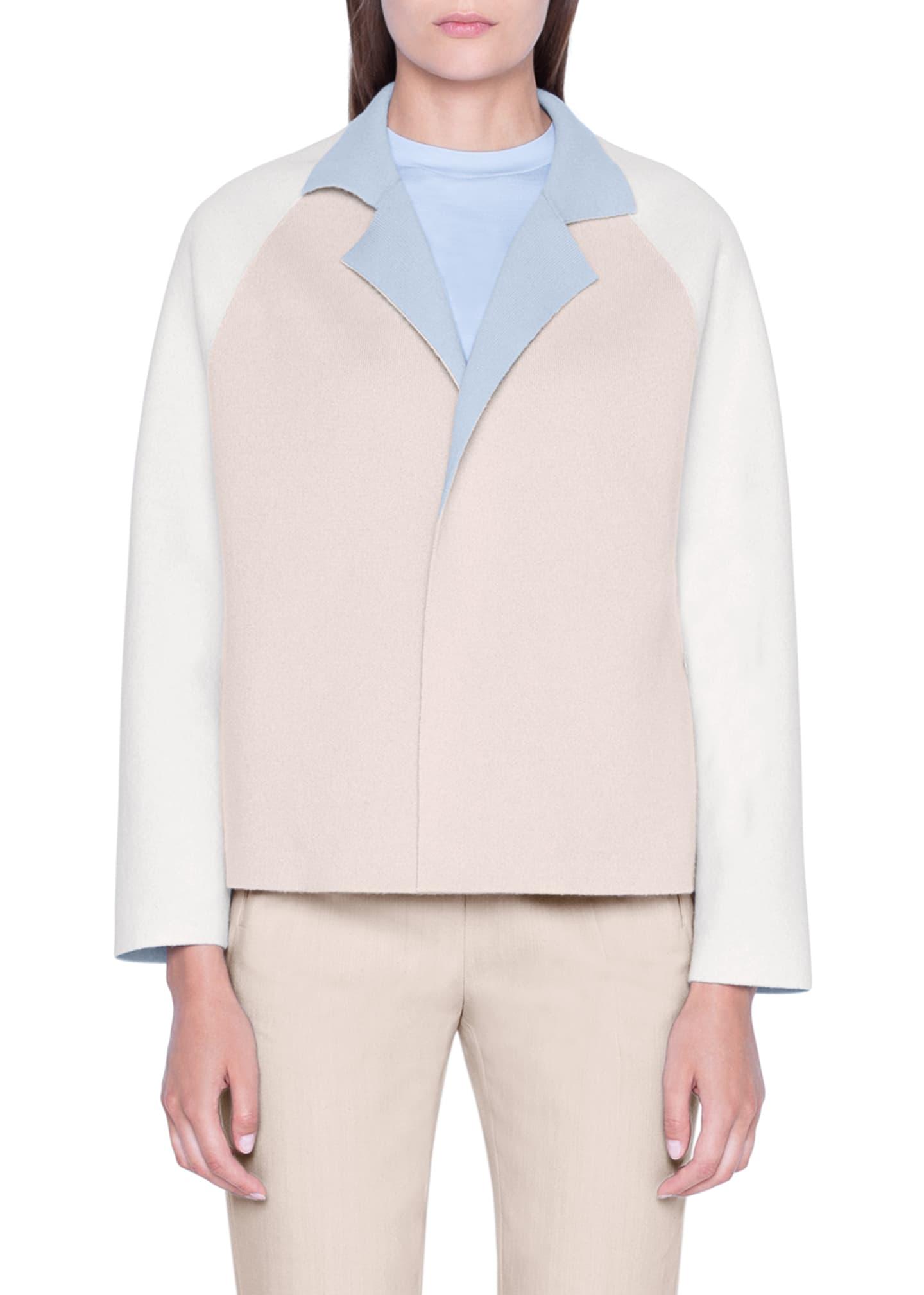 Akris Cashmere Colorblock Open-Front Jacket