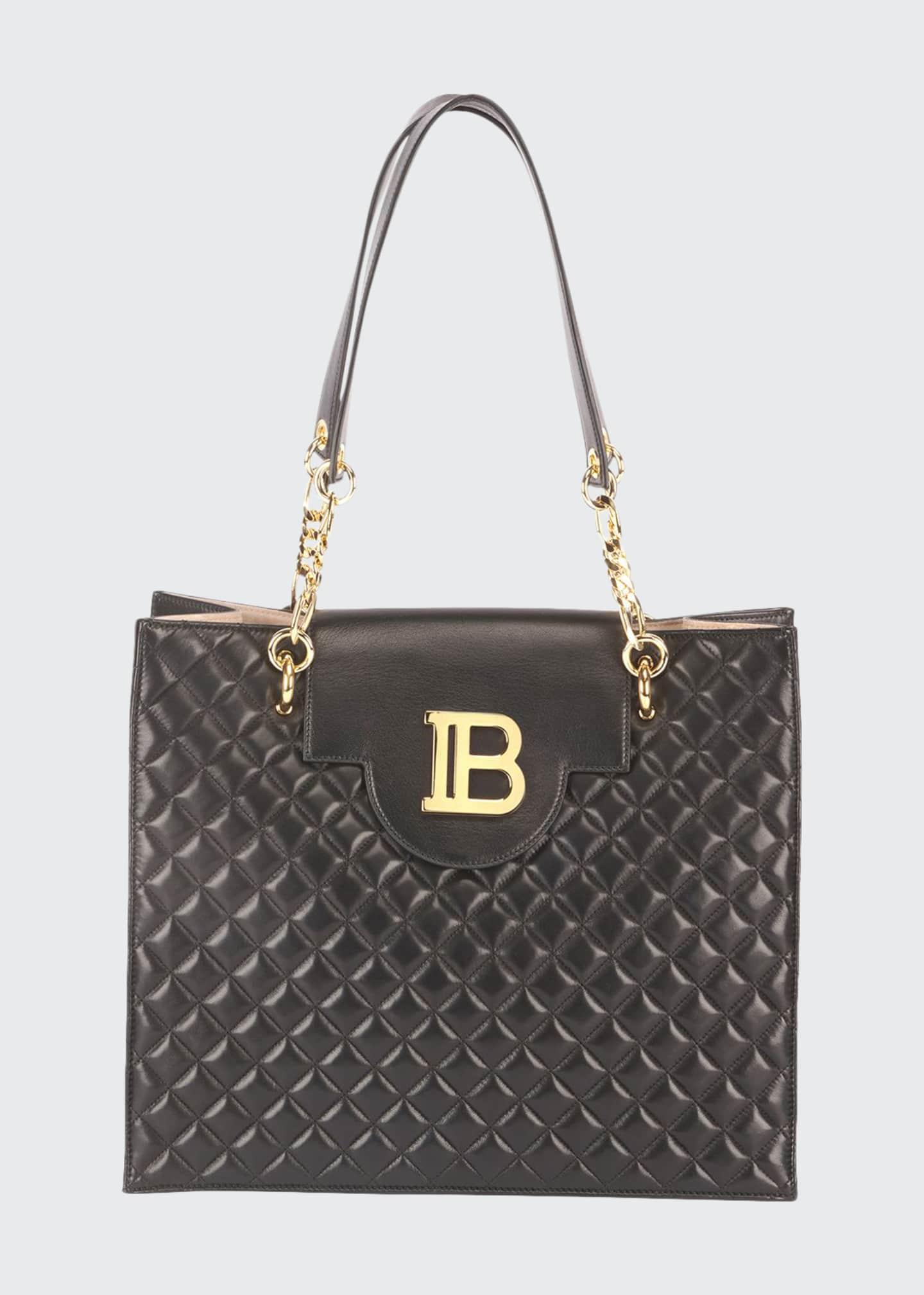 Balmain B Quilted Lambskin Shopper Tote Bag